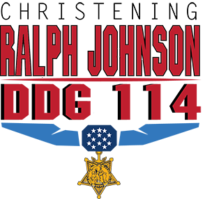USS RALPH JOHNSON DDG-114 Christening Logo Grafik: Huntington Ingalls Industries