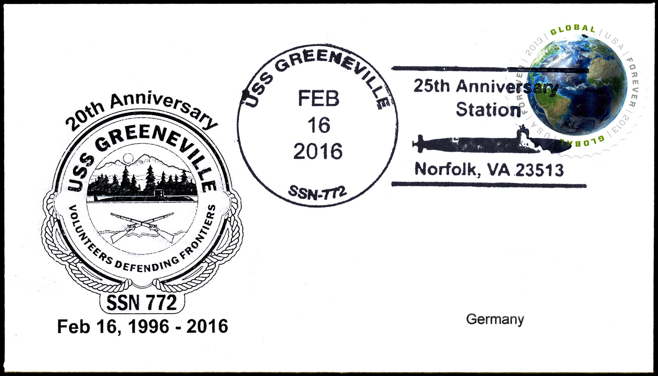 Beleg USS GREENEVILLE SSN-772  20 Jahre im Dienst mit falschem Poststempel Beleg: Wolfgang Hechler