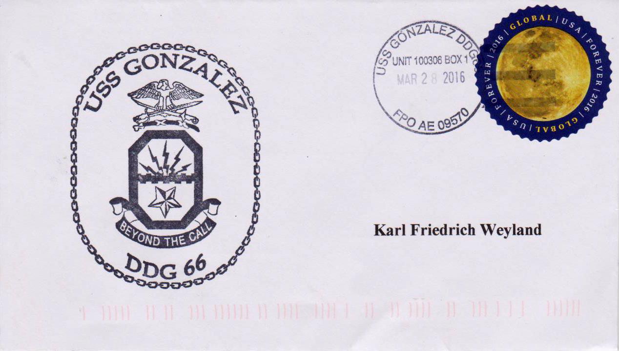Beleg USS GONZALEZ DDG-66 vom 28.03.2016 von Karl Friedrich Weyland
