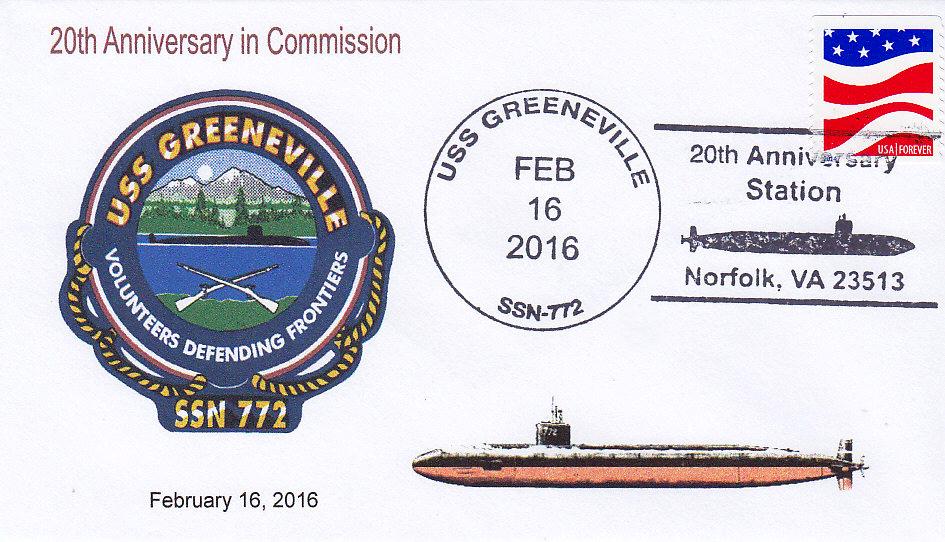 Beleg USS GREENEVILLE SSN-772  20 Jahre im Dienst