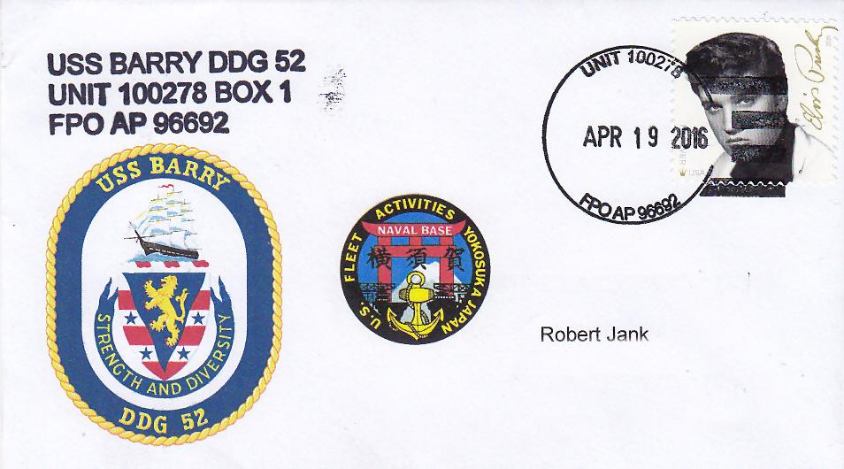 Beleg USS BARRY DDG-52 vom 19.04.2016