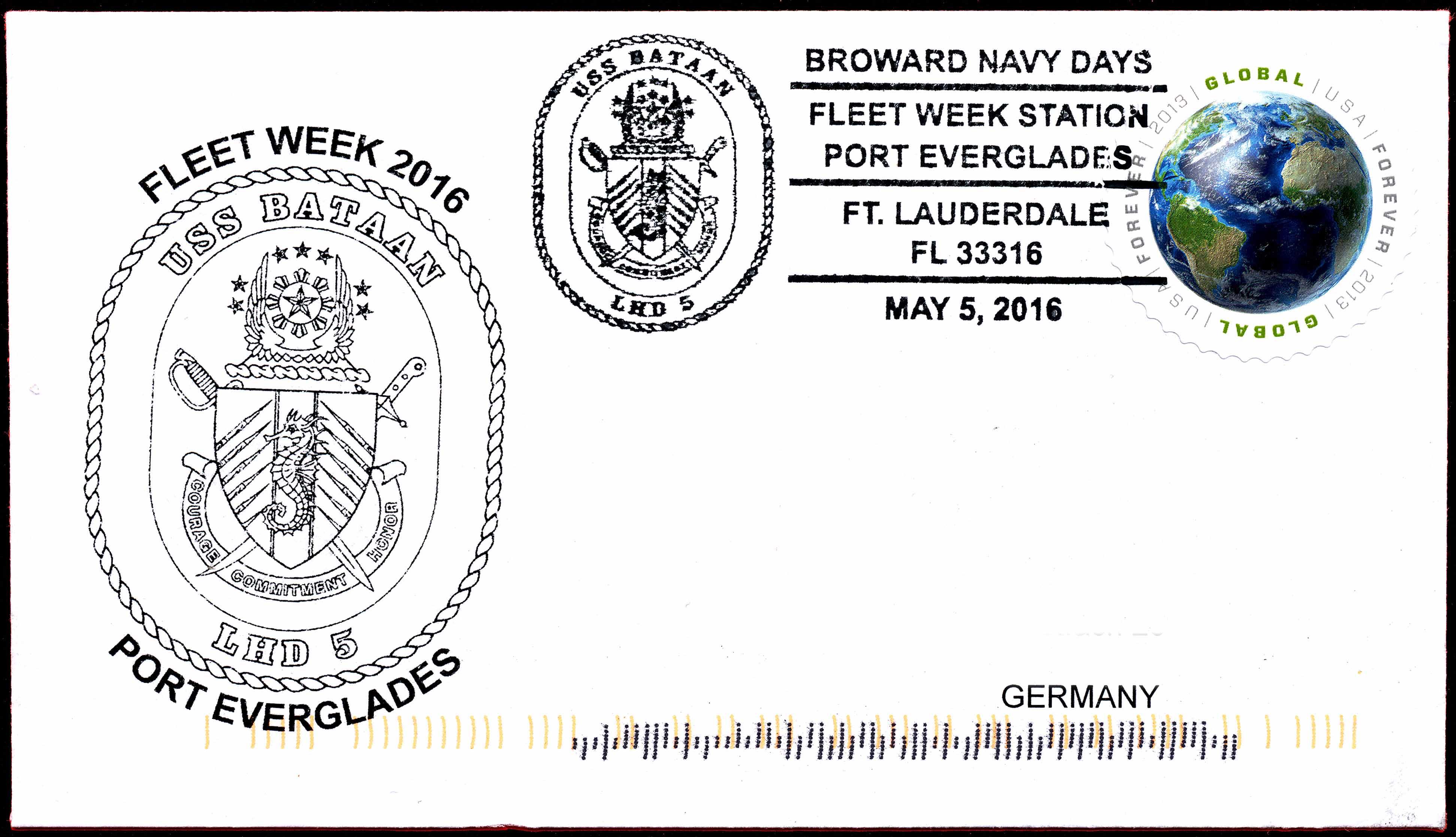 Beleg Sonderpoststempel Fleet Week Port Everglades 2016 von Wolfgang Hechler