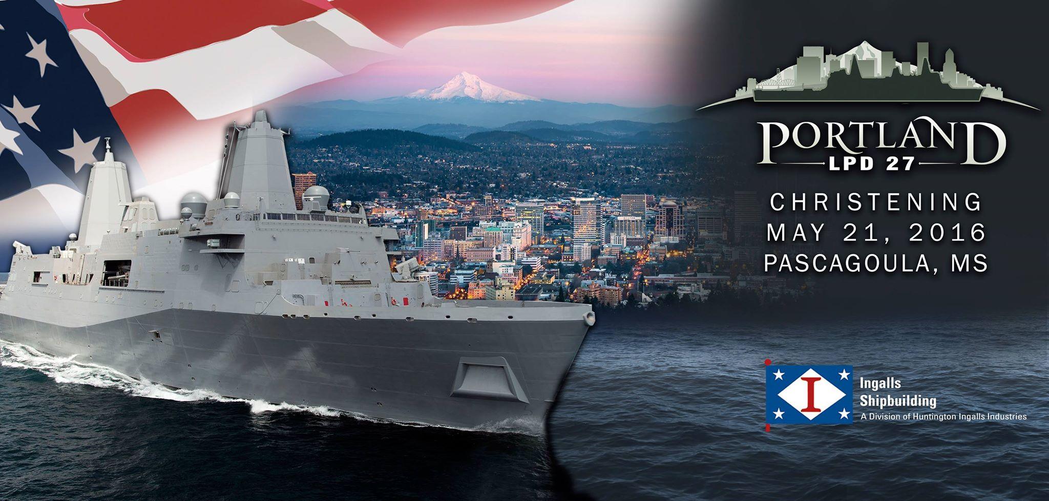 USS PORTLAND LPD-27 Christening Grafik: Huntington Ingalls Industries