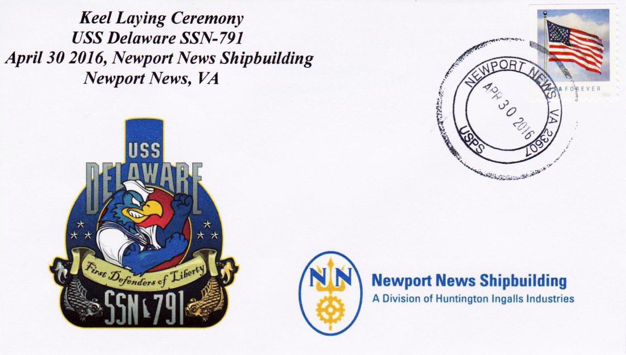 Beleg USS DELAWARE SSN-791 Keel Laying von Karl Friedrich Weyland