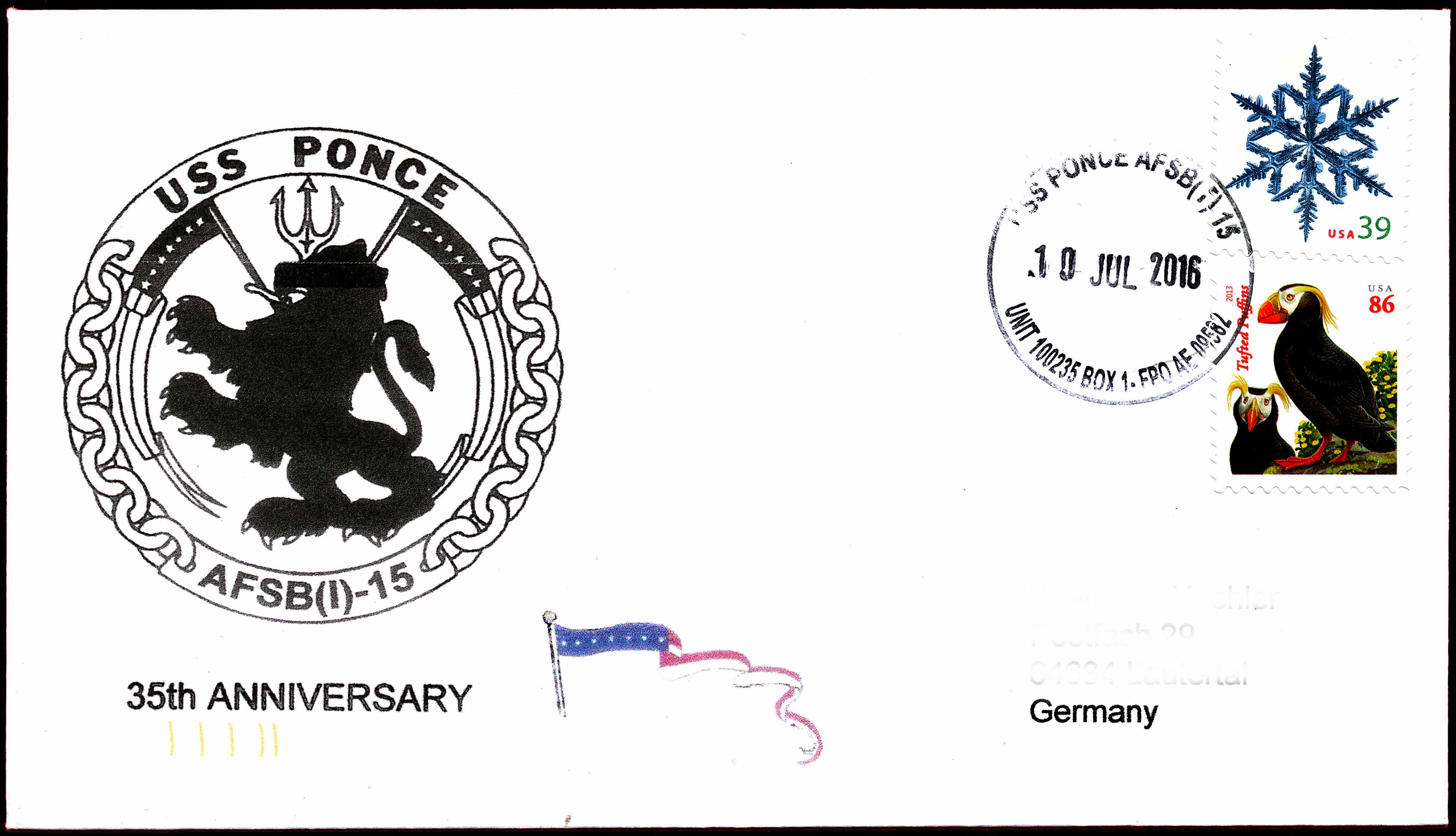 Beleg USS PONCE AFSB(I)-15  45 Jahre im Dienst von Wolfgang Hechler