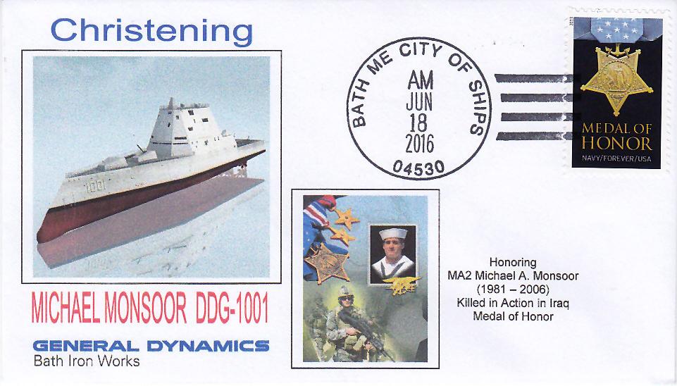 Beleg USS MICHAEL MONSOOR DDG-1001 Christening