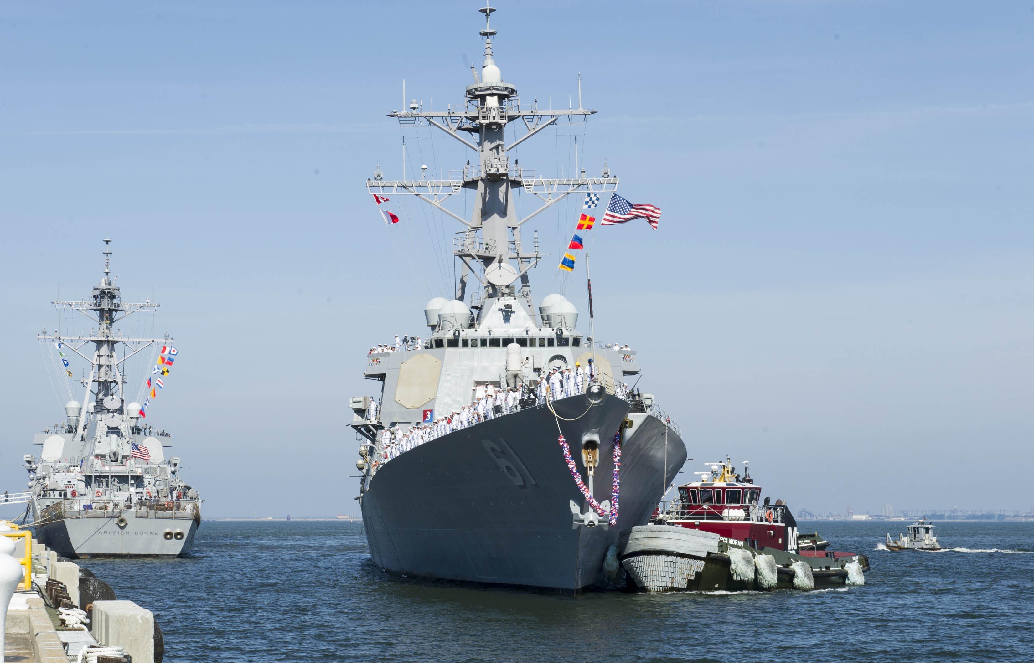 USS RAMAGE DDG-61 Einlaufen Norfolk am 25.07.2016 Bild: U.S. Navy