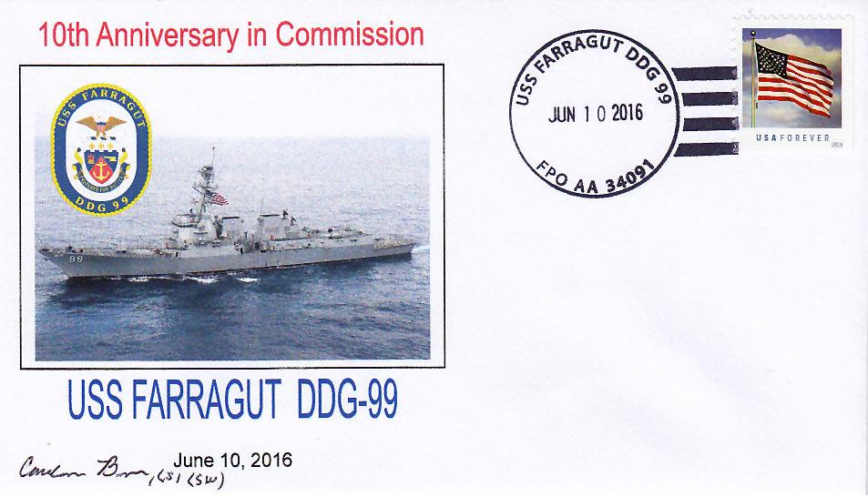 Beleg USS FARRAGUT DDG-99  10 Jahre im Dienst