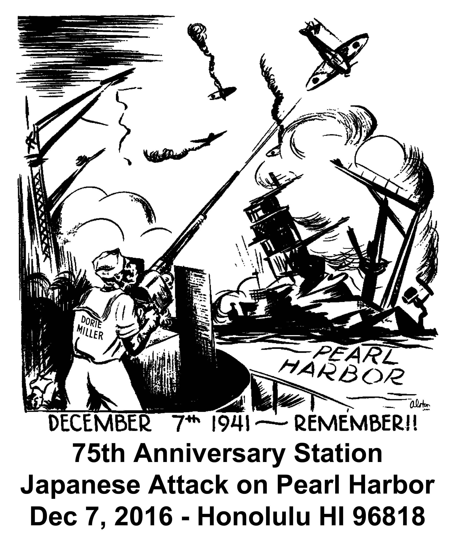 Sonderpoststempel 75. Jahrestag Angriff auf Pearl Harbor Grafik: Wolfgang Hechler