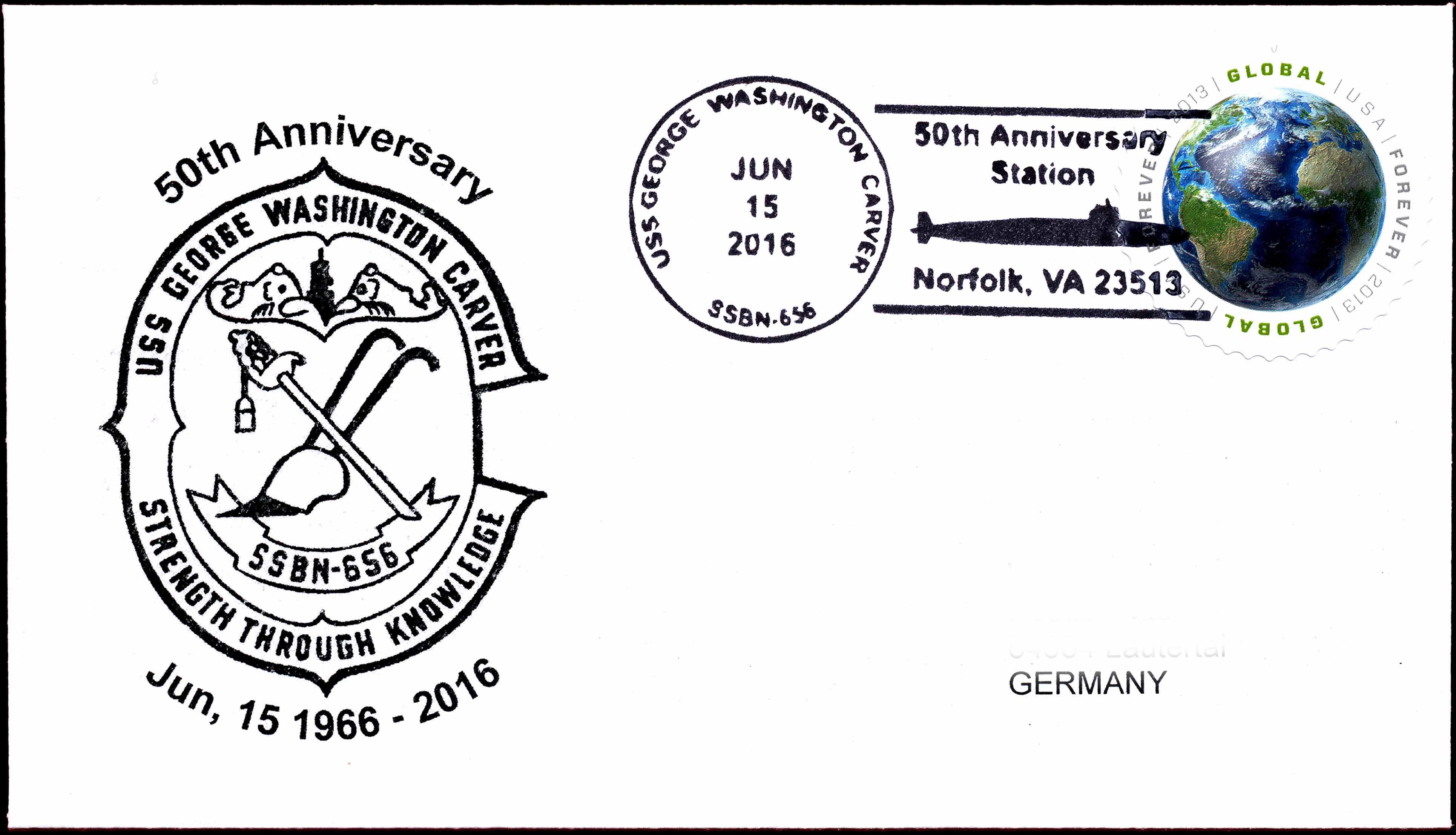 Beleg USS GEORGE WASHINGTON CARVER SSBN-565  50. Jahrestag der Indienststellung von Wolfgang Hechler