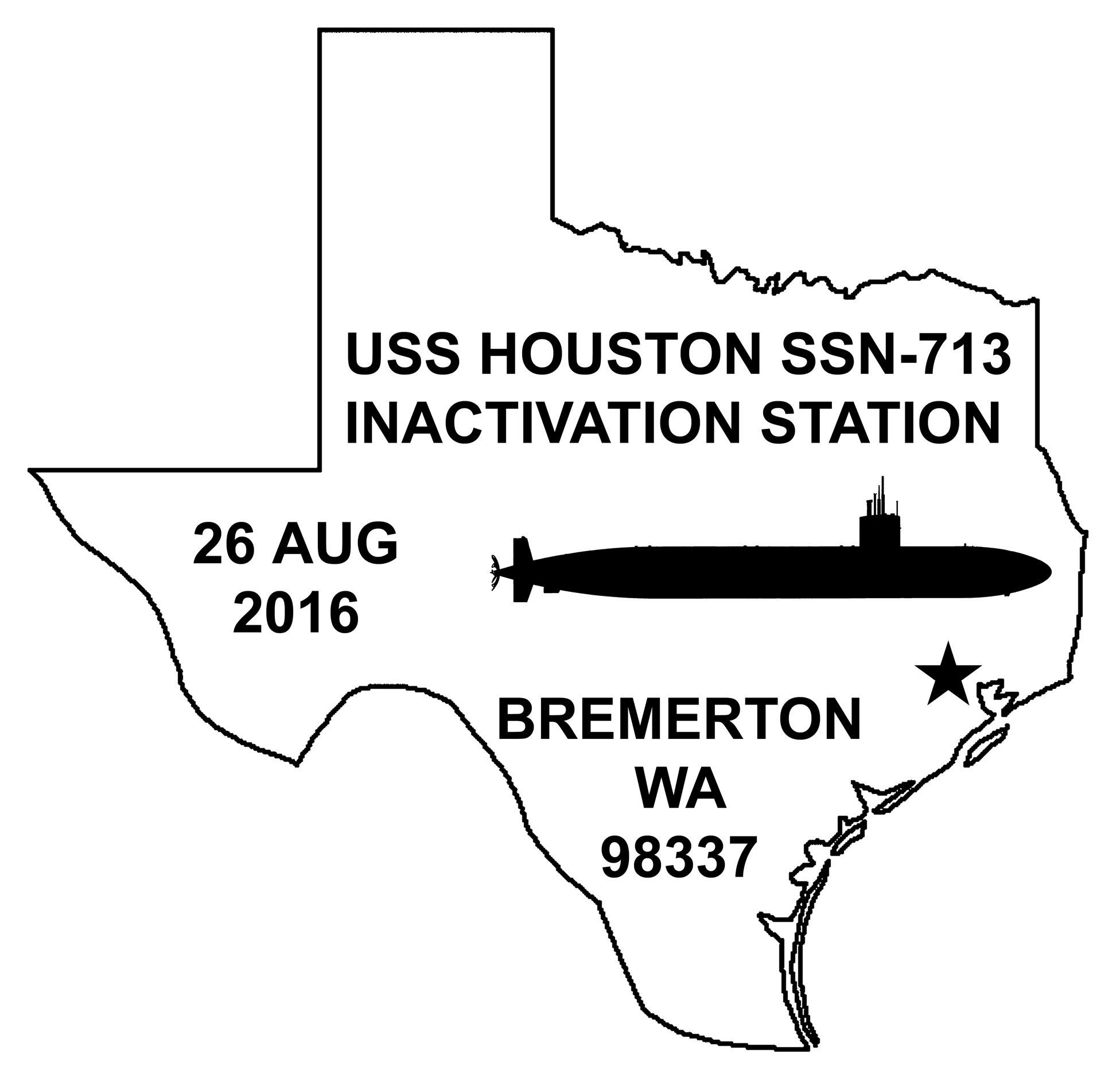 Sonderpoststempel USS HOUSTON SSN-713 Inaktivierung Grafik: Wolfgang Hechler