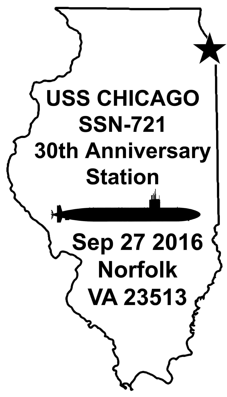 Sonderpoststempel USS CHICAGO SSN-721  30 Jahre im Dienst Grafik: Wolfgang Hechler