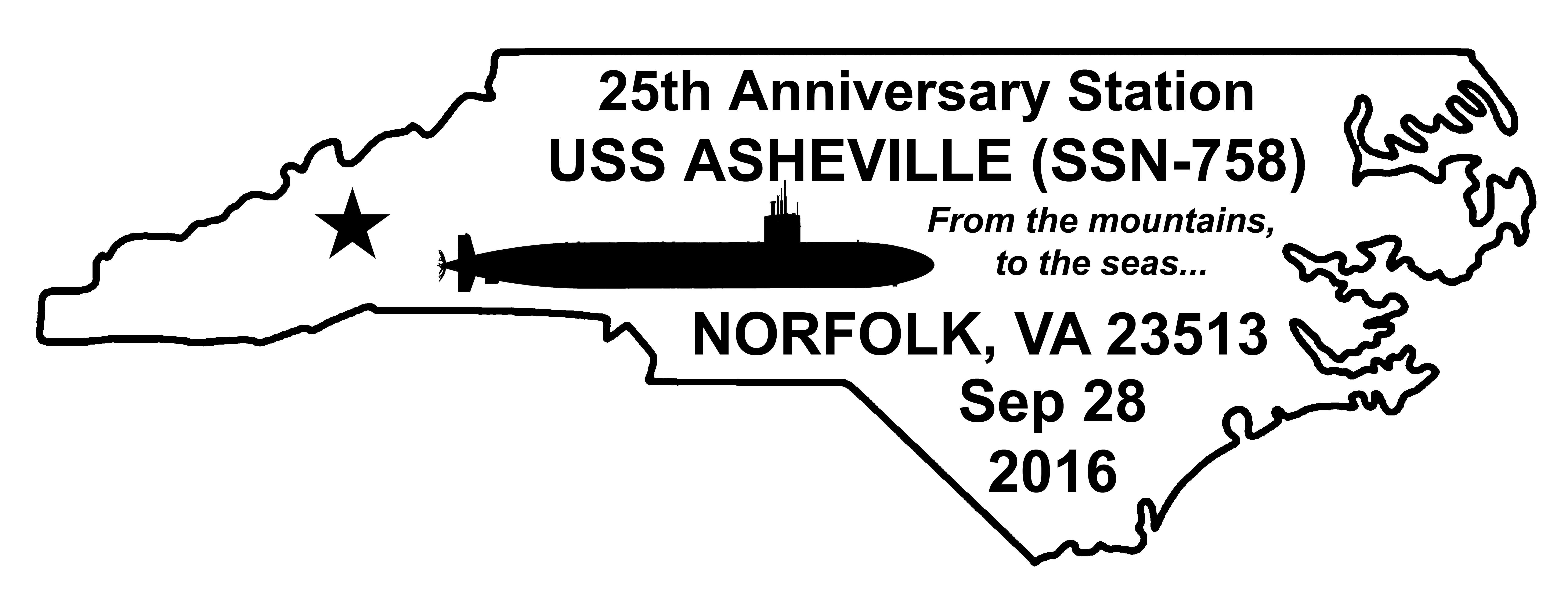 Sonderpoststempel USS ASHEVILLE SSN-758  25 Jahre im Dienst Grafik: Wolfgang Hechler