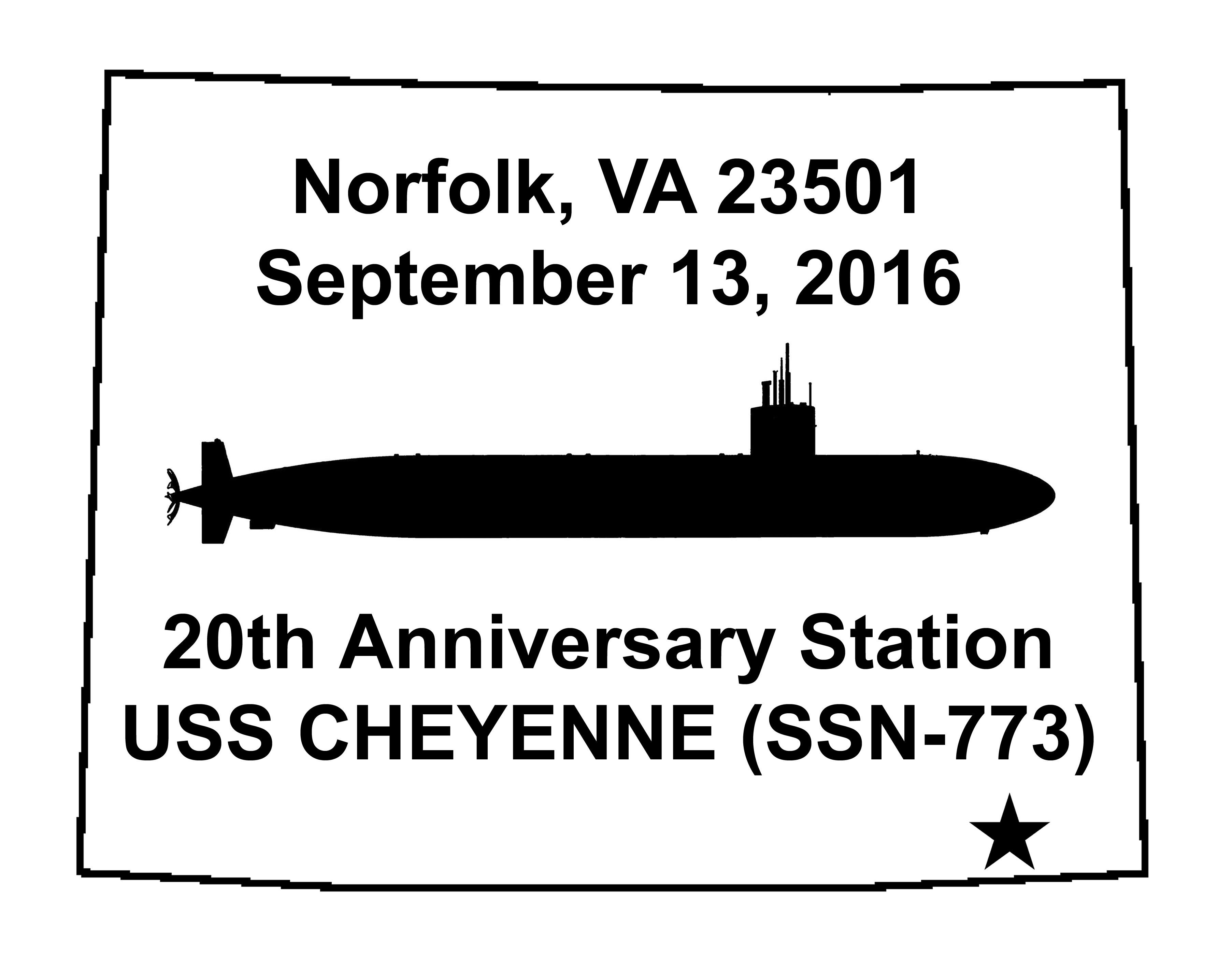 Sonderpoststempel USS CHEYENNE SSN-773  20 Jahre im Dienst Grafik: Wolfgang Hechler