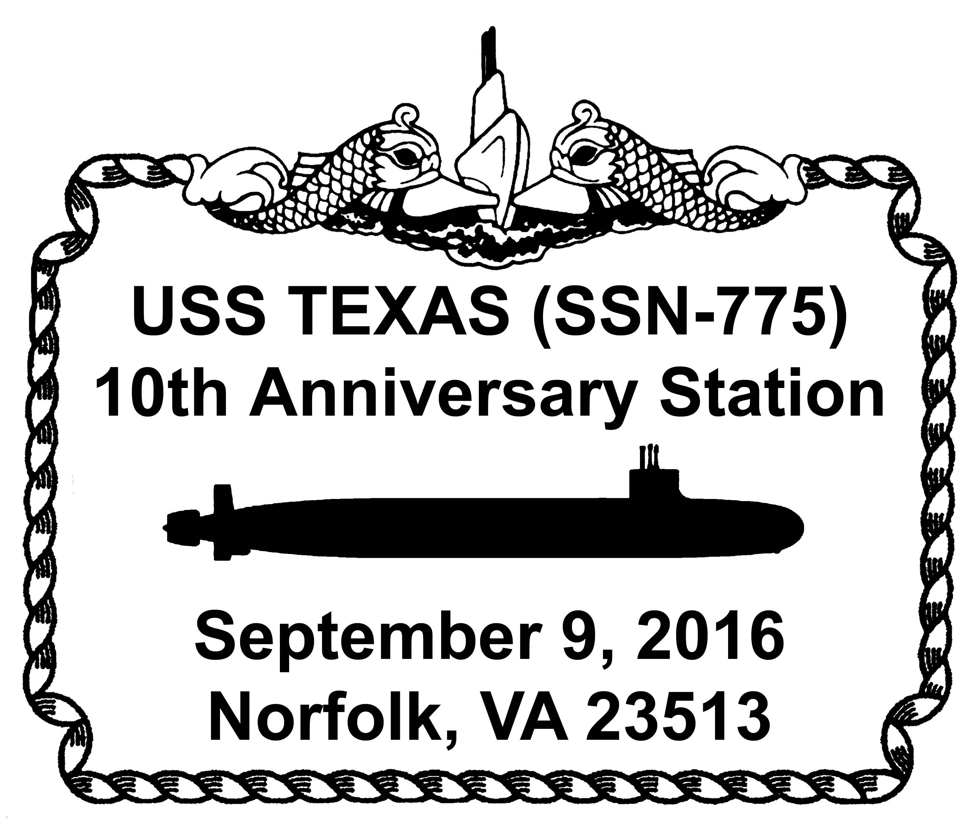 Sonderpoststempel USS TEXAS SSN-775  10 Jahre im Dienst Grafik: Wolfgang Hechler
