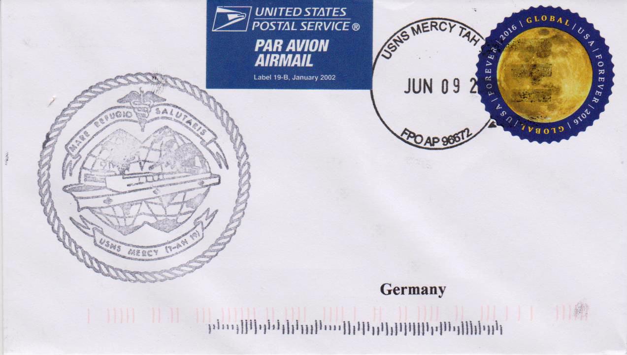 Beleg USNS MERCY T-AH 20 vom 09.06.2016 von Karl Friedrich Weyland