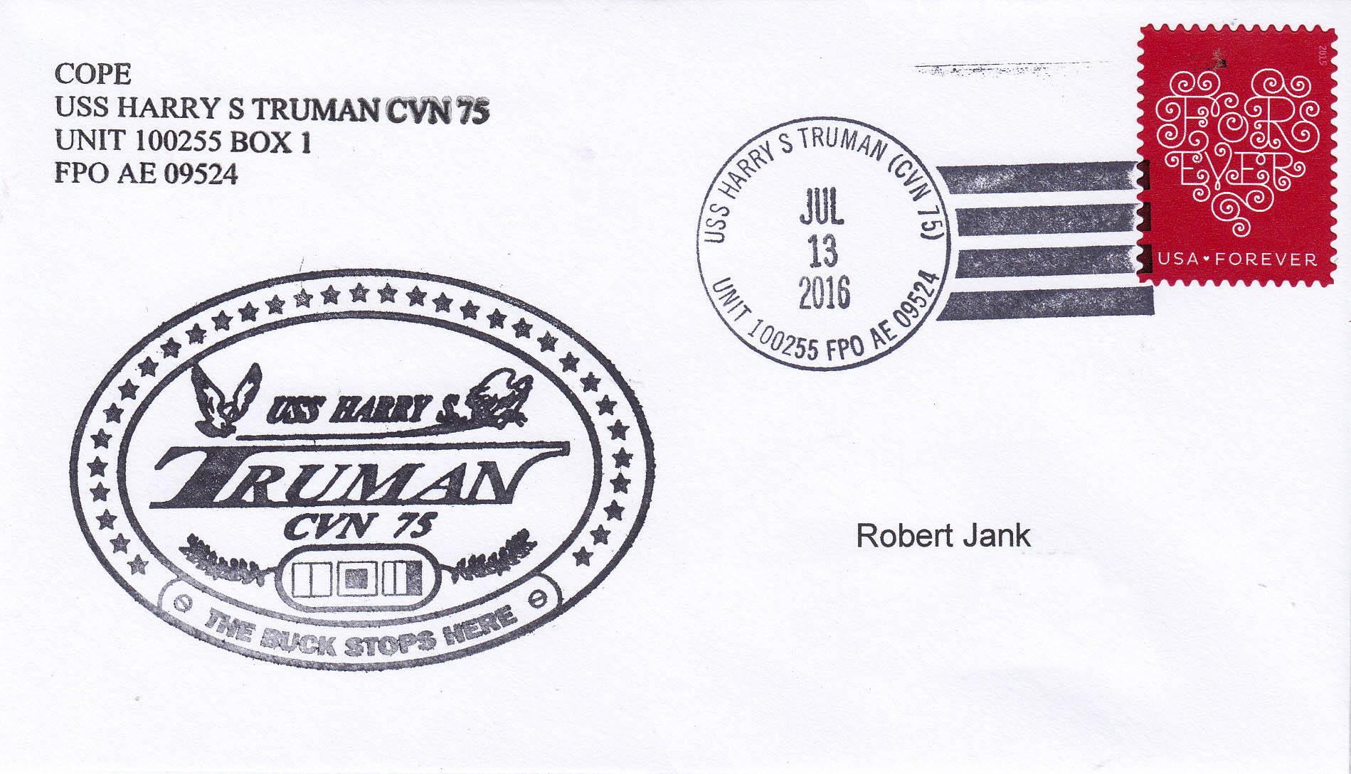 Beleg USS HARRY S. TRUMAN CVN-75 vom 13.07.2016