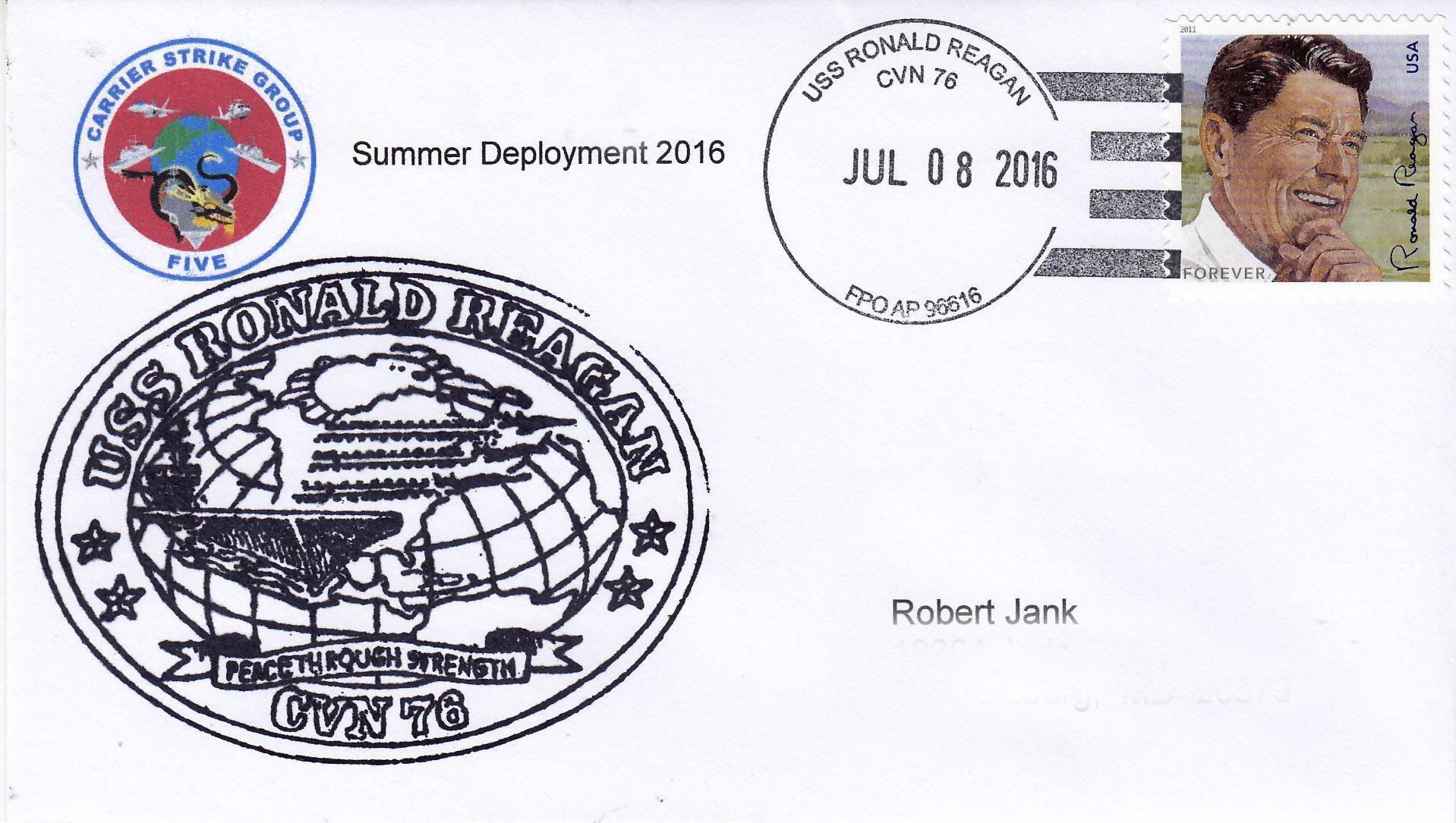 Beleg USS RONALD REAGAN CVN-76 vom 08.07.2016