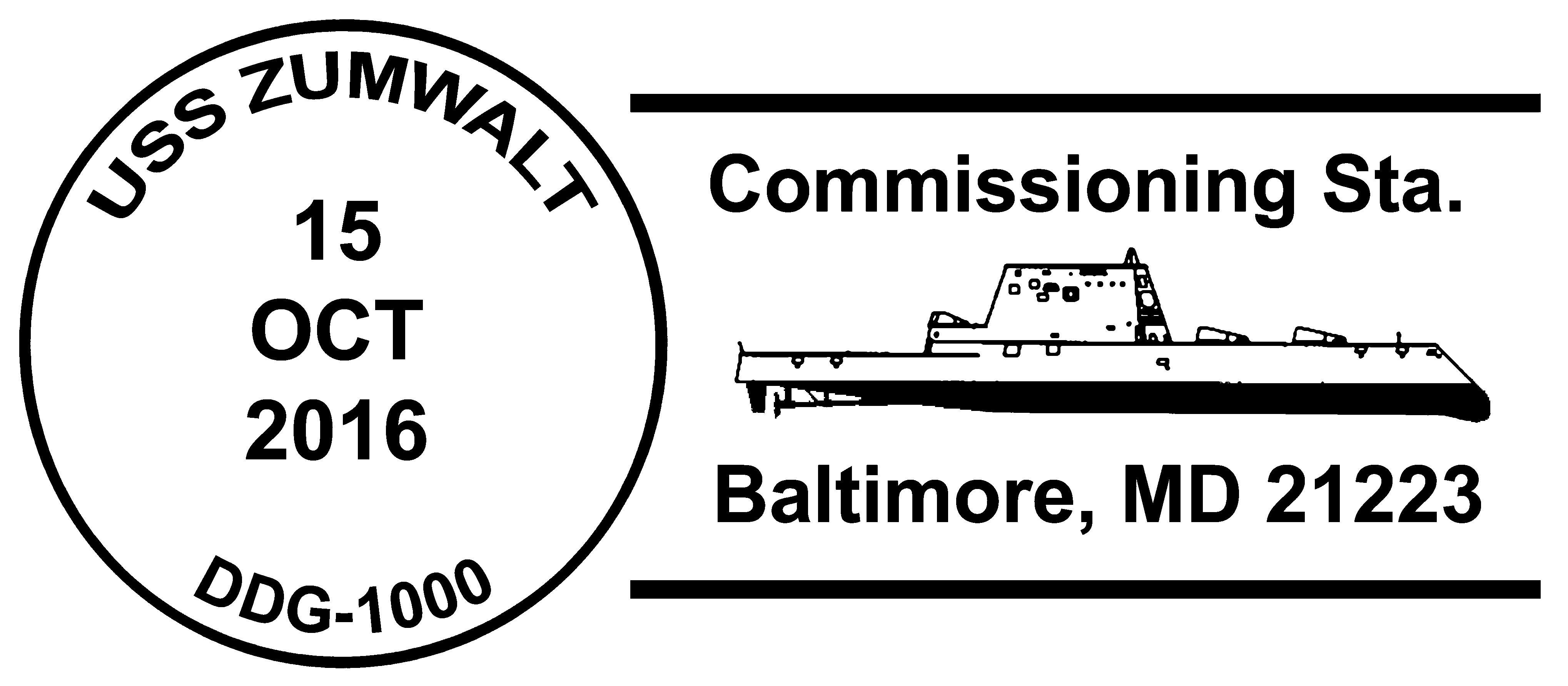 Sonderpoststempel USS ZUMWALT DDG-1000 Commissioning Entwurf: Wolfgang Hechler