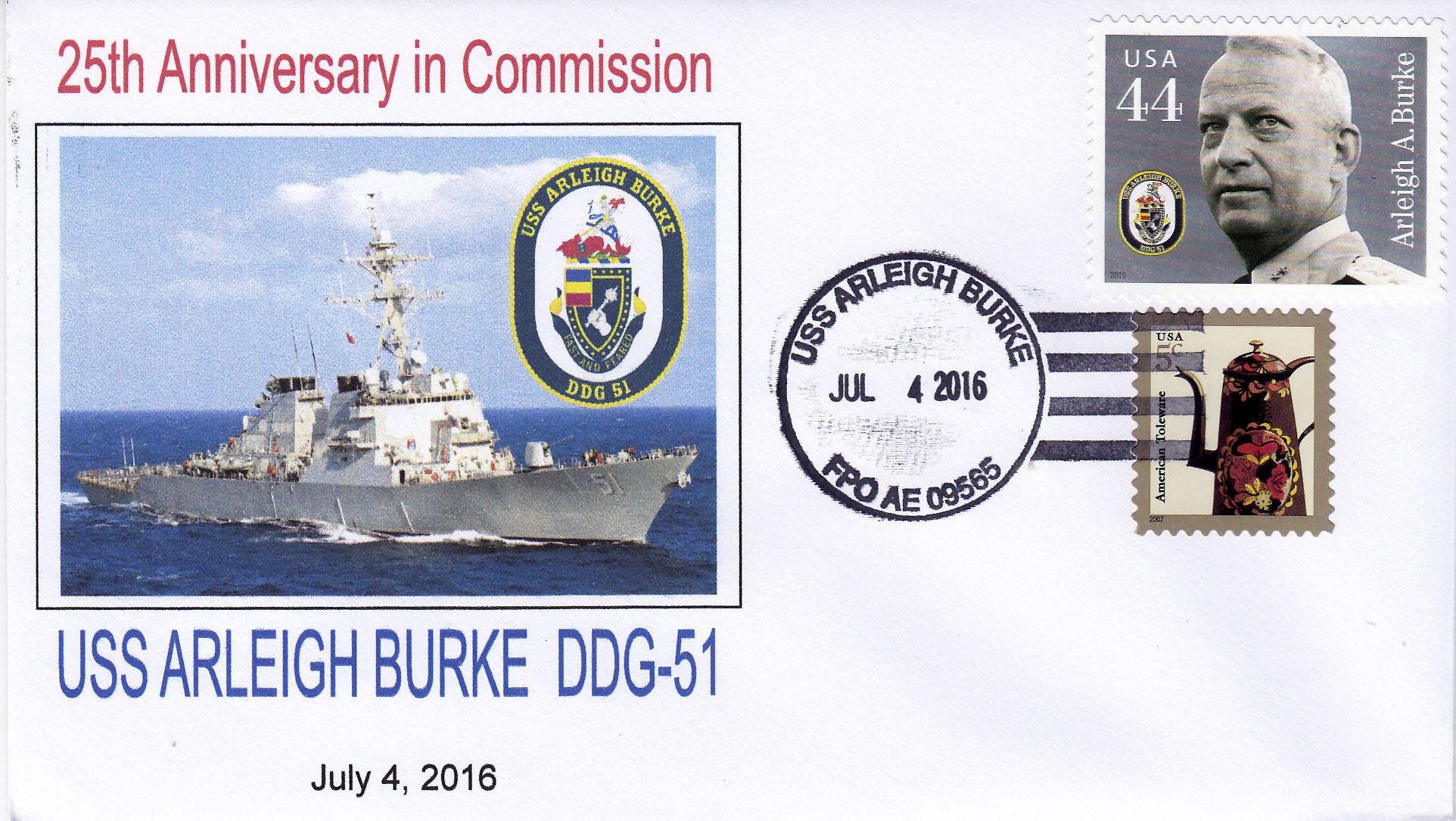Beleg USS ARLEIGH BURKE DDG-51  25 Jahre im Dienst