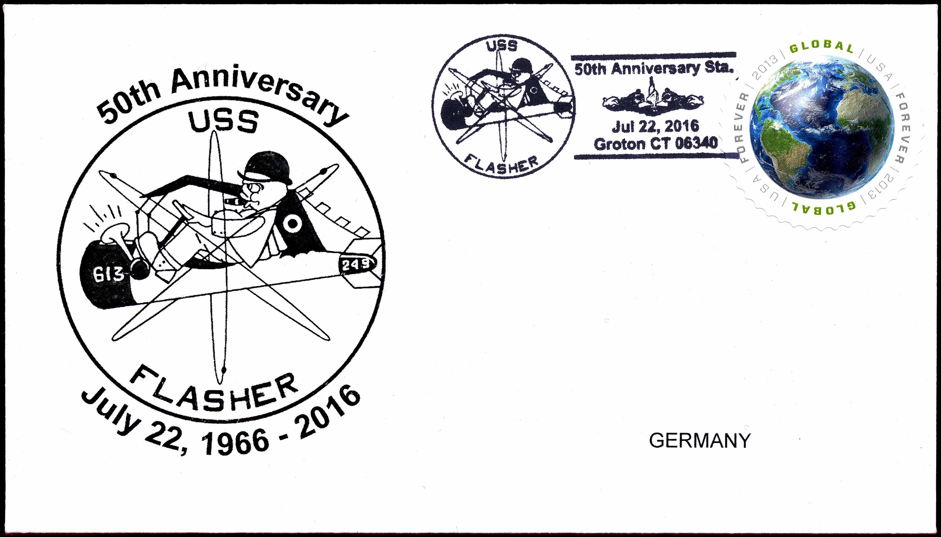 Beleg USS FLASHER SSN-613  50. Jahrestag Indienststellung von Wolfgang Hechler