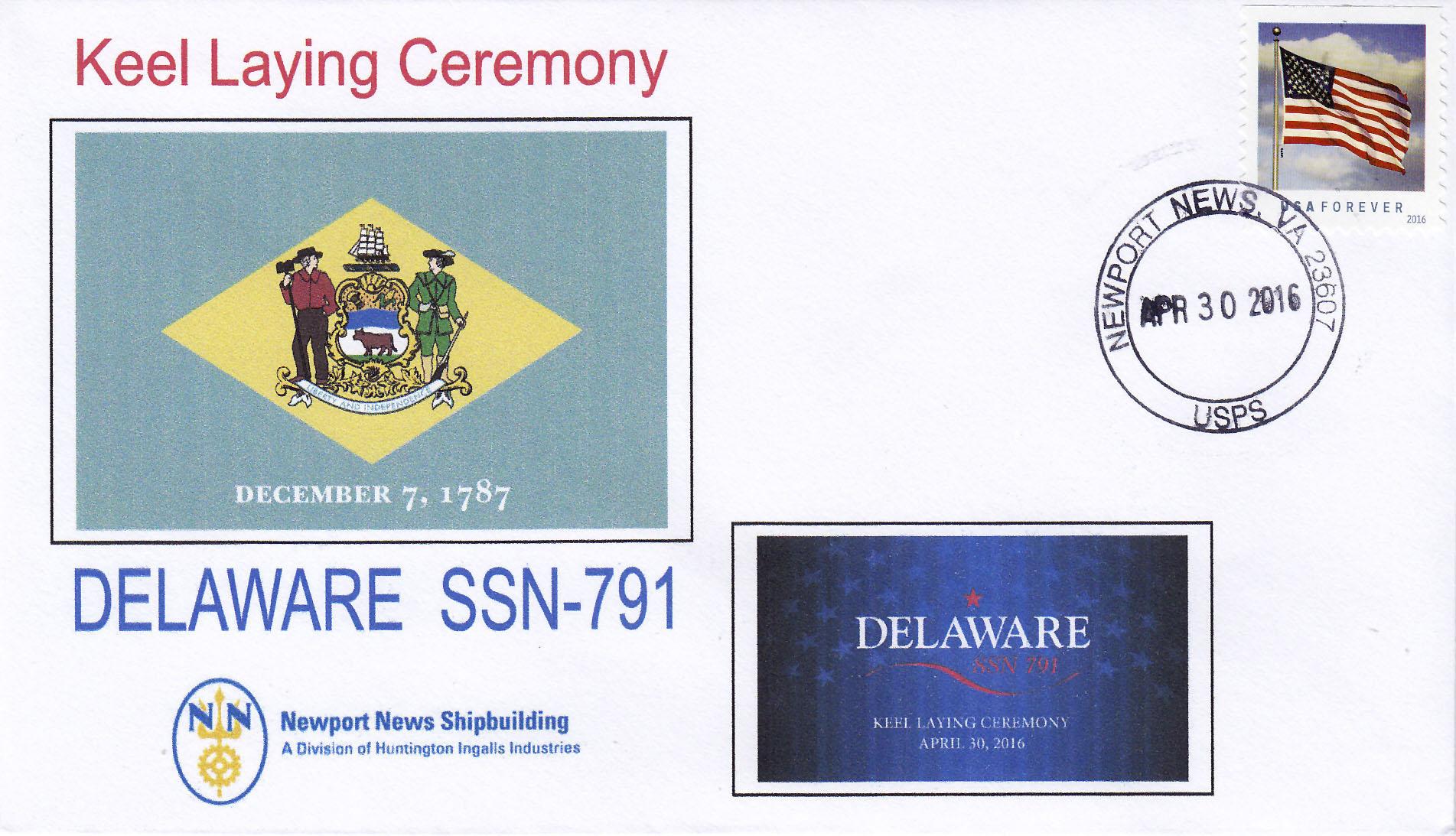 Beleg USS DELAWARE SSN-791 Keel Laying