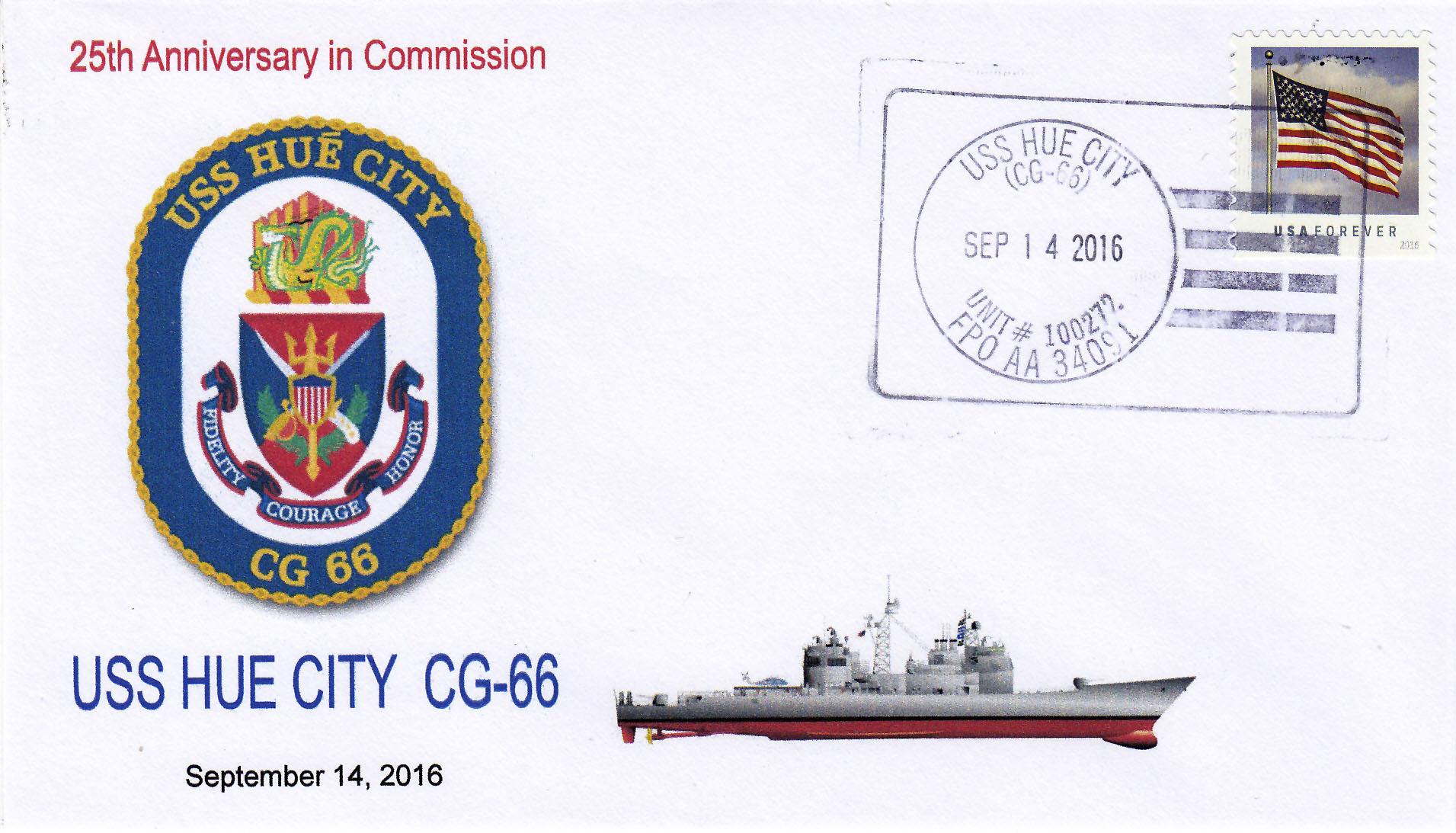 Beleg USS HUE CITY CG-66  25 Jahre im Dienst