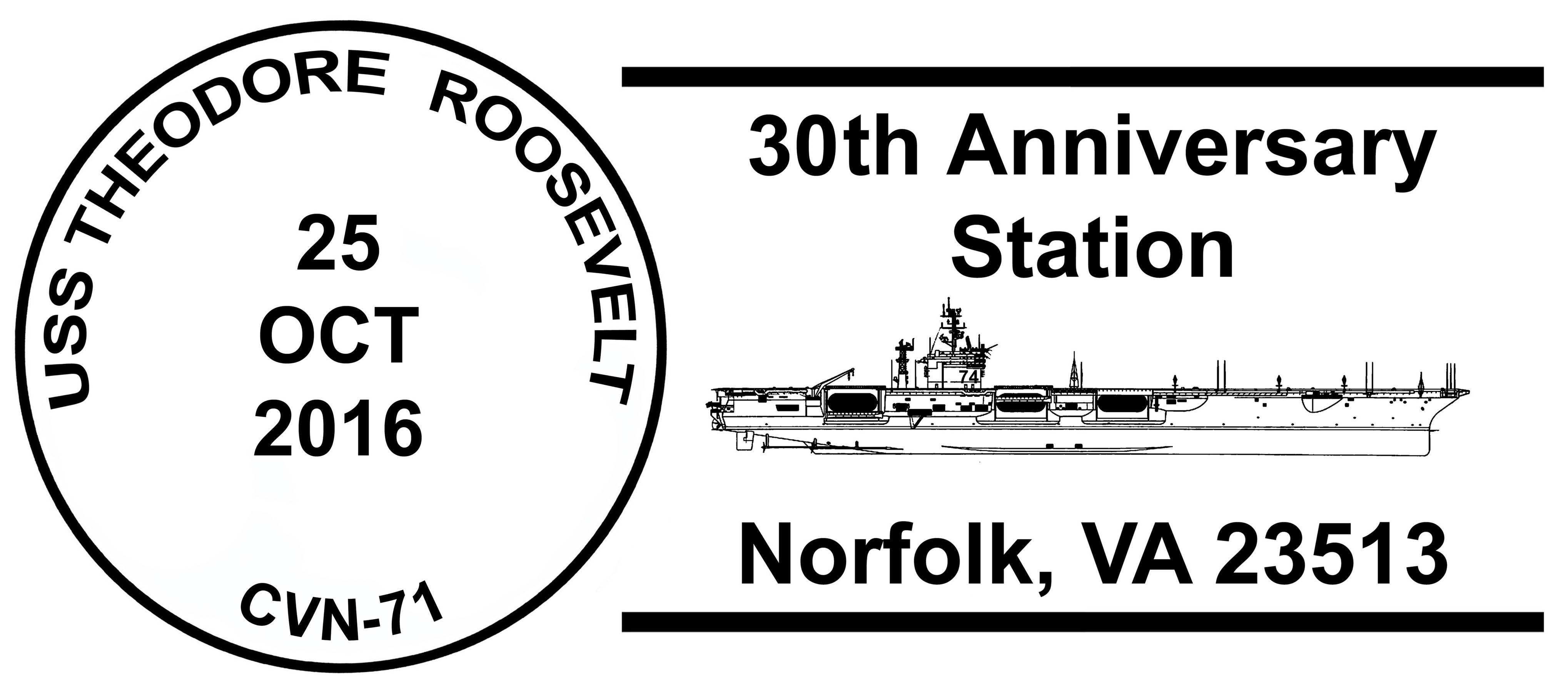 Sonderpoststempel USS THEODORE ROOSEVELT CVN-71  30 Jahre im Dienst Design: Wolfgang Hechler