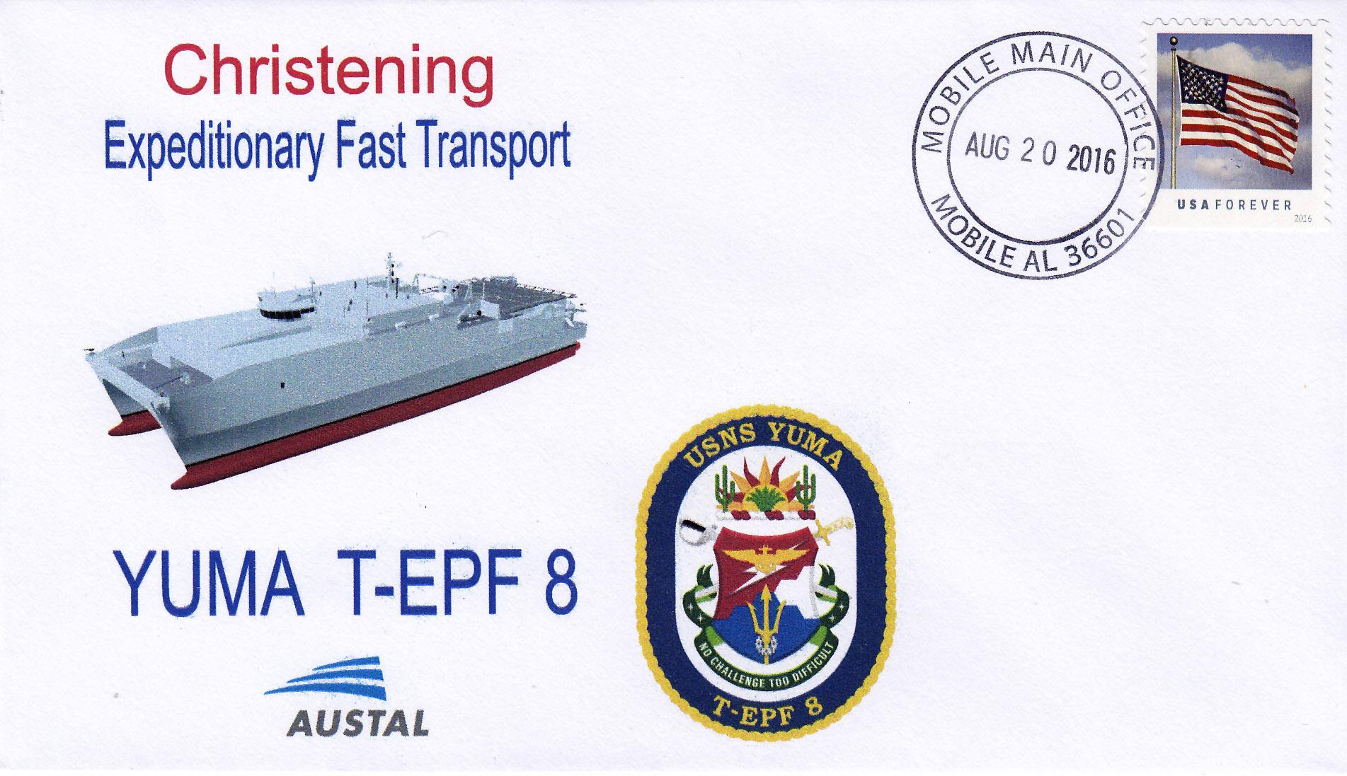 Beleg USNS YUMA T-EPF 8 Christening