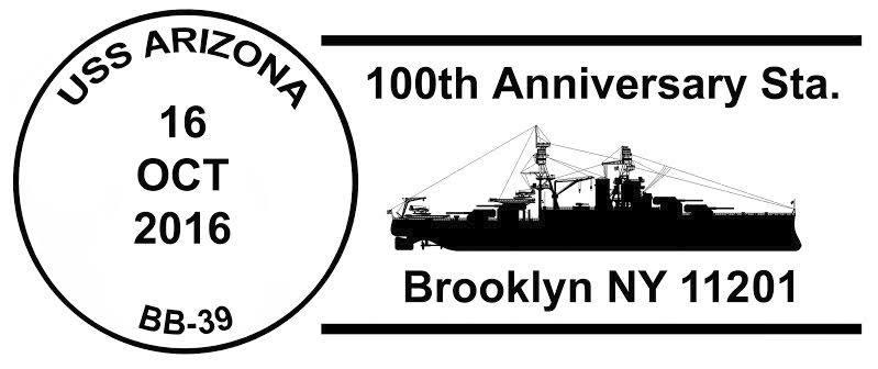 Sonderpoststempel USS ARIZONA BB-39  100 Jahre Indienststellung Grafik: Wolfgang Hechler
