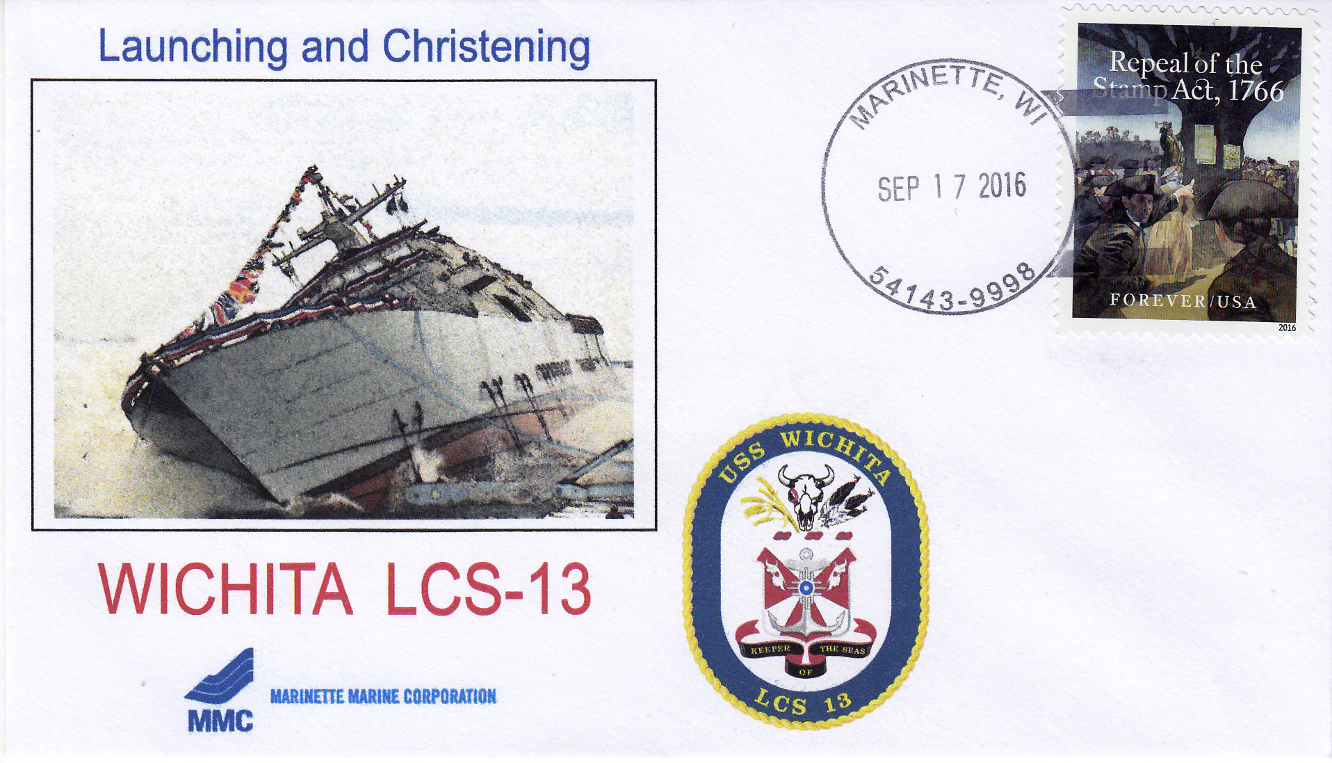 Beleg USS WICHITA LCS-13  Stapellauf und Taufe
