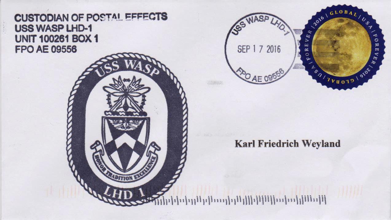Beleg USS WASP LHD-1 vom 17.09.2016 von Karl Friedrich Weyland
