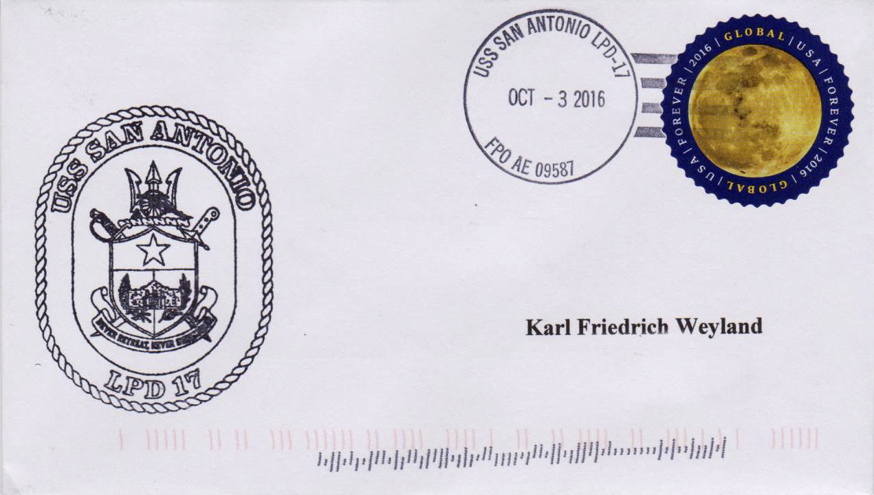 Beleg USS SAN ANTONIO LPD-17 vom 03.10.2016 von Karl Friedrich Weyland