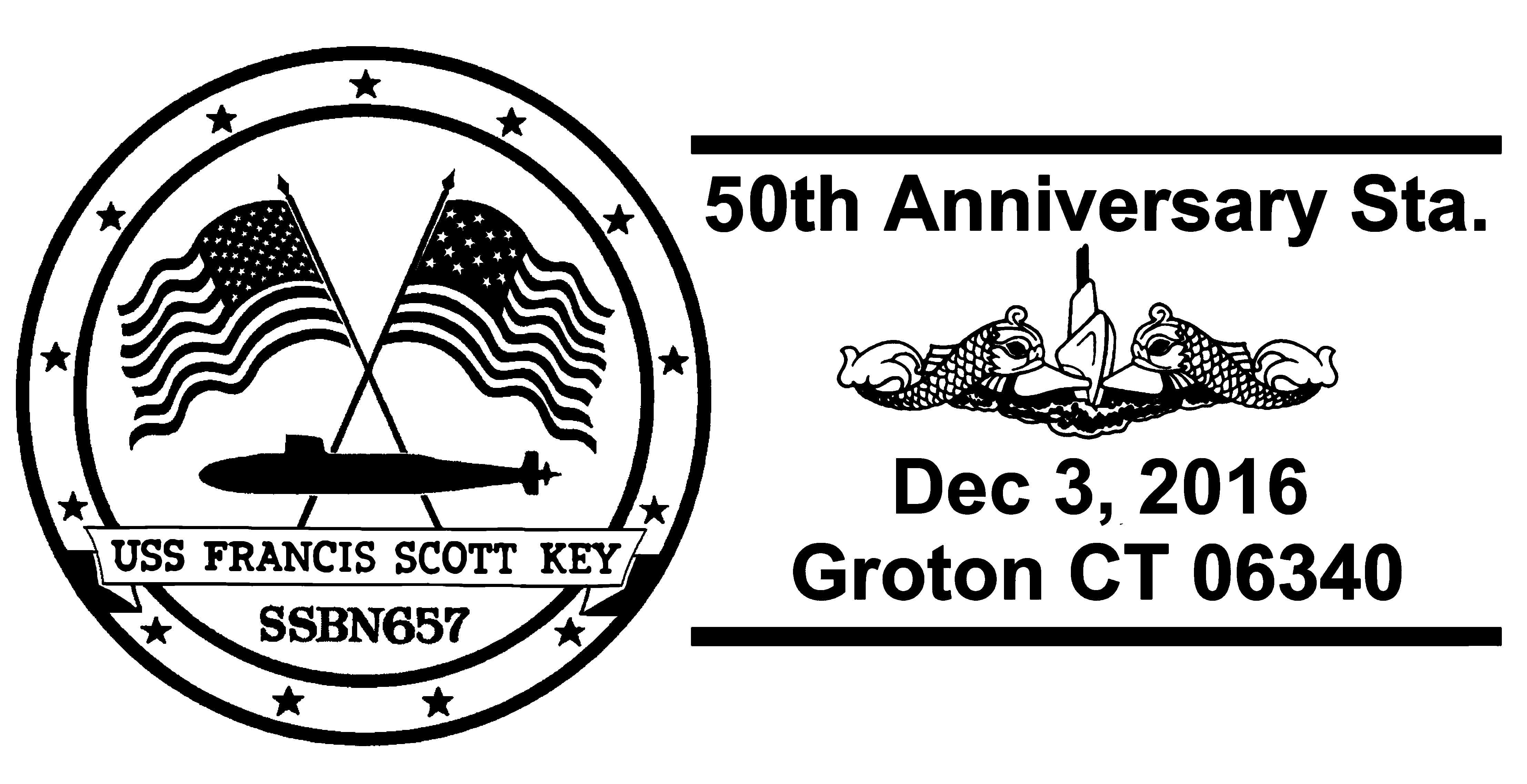 Sonderpoststempel USS FRANCIS SCOTT KEY SSBN-657  50 Jahre Indienststellung Grafik: Wolfgang Hechler