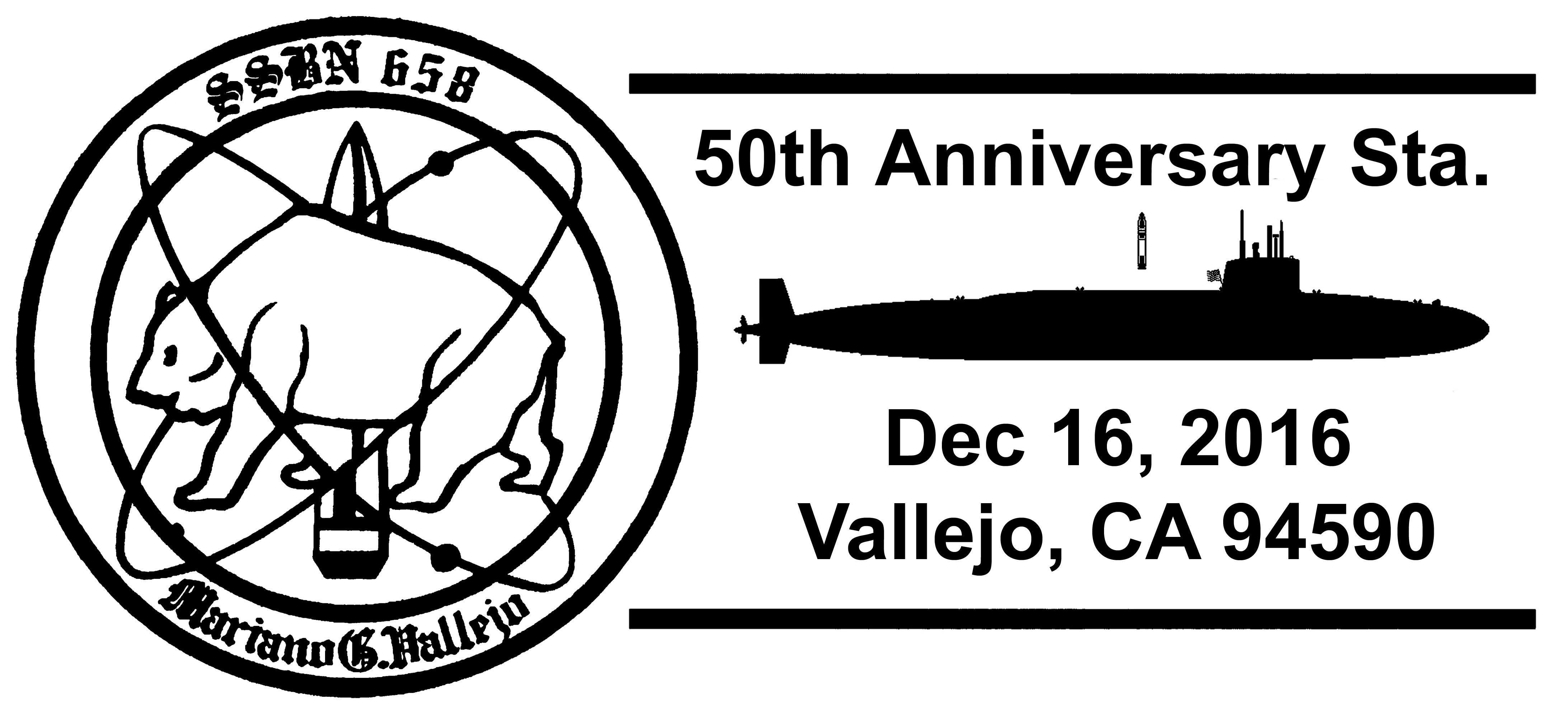 Sonderpoststempel USS MARIANO G. VALLEJO SSBN-658  50 Jahre Indienststellung geändert Grafik: Wolfgang Hechler