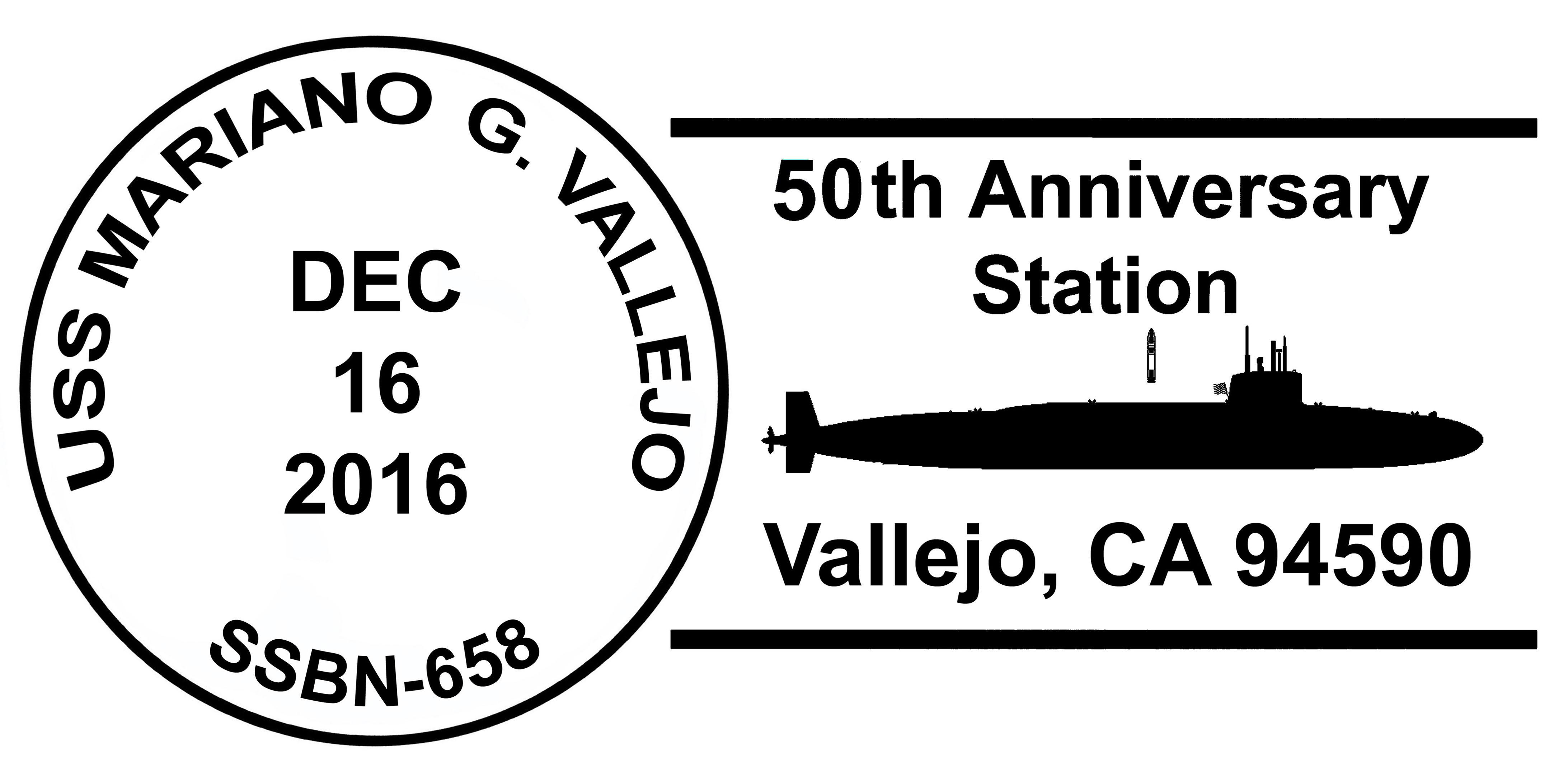 Sonderpoststempel USS MARIANO G. VALLEJO SSBN-658  50 Jahre Indienststellung Grafik: Wolfgang Hechler
