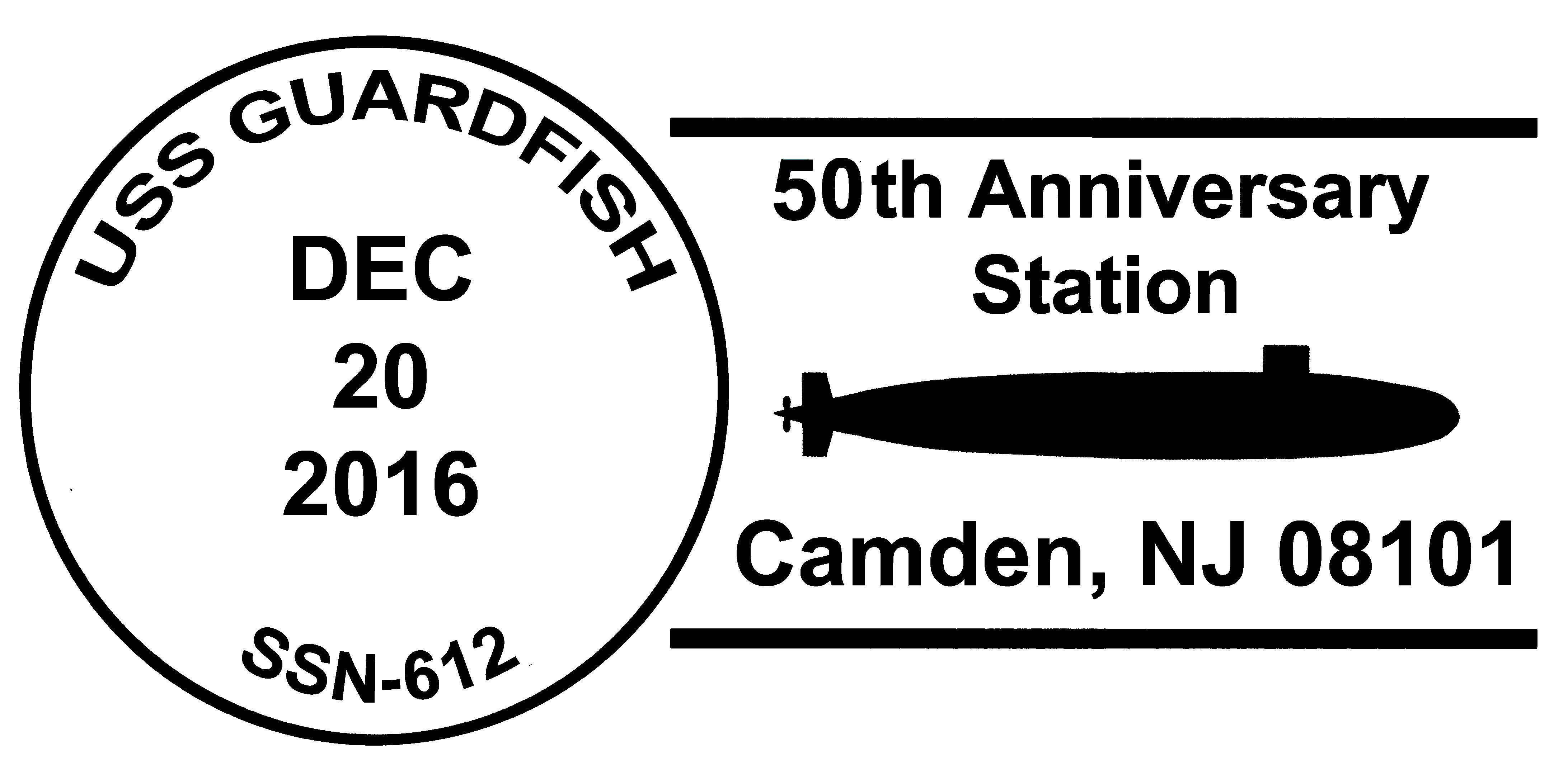 Sonderpoststempel USS GUARDFISH SSN-612  50 Jahre Indienststellung Grafik: Wolfgang Hechler
