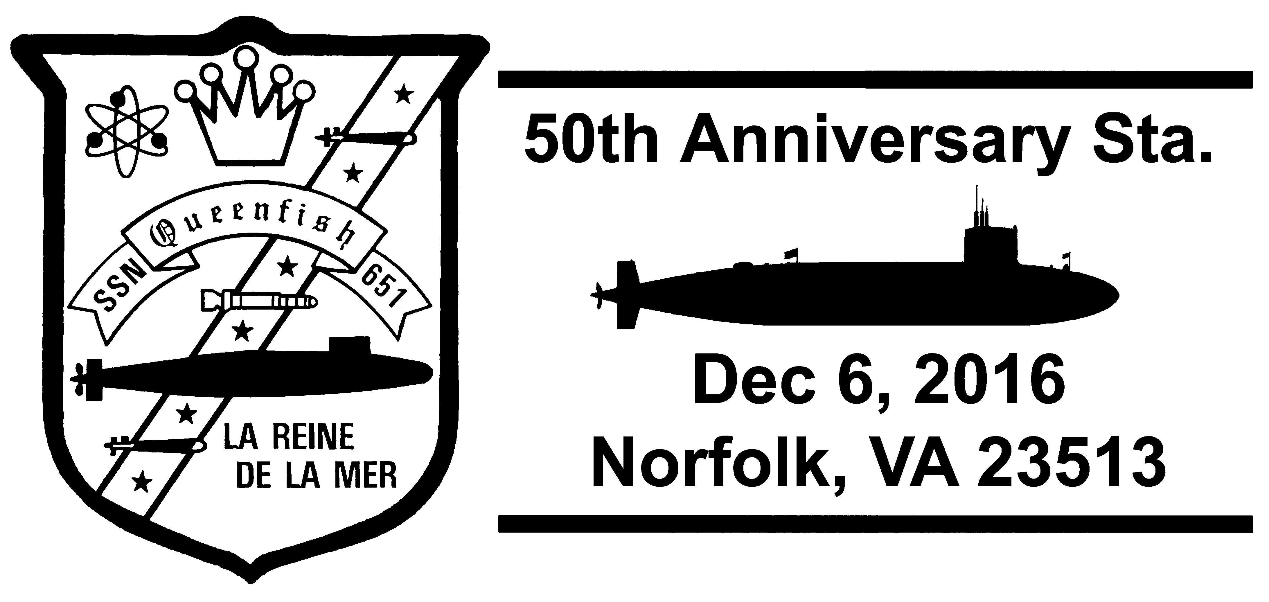 Sonderpoststempel USS QUEENFISH SSN-651  50 Jahre Indienststellung geändert Grafik: Wolfgang Hechler