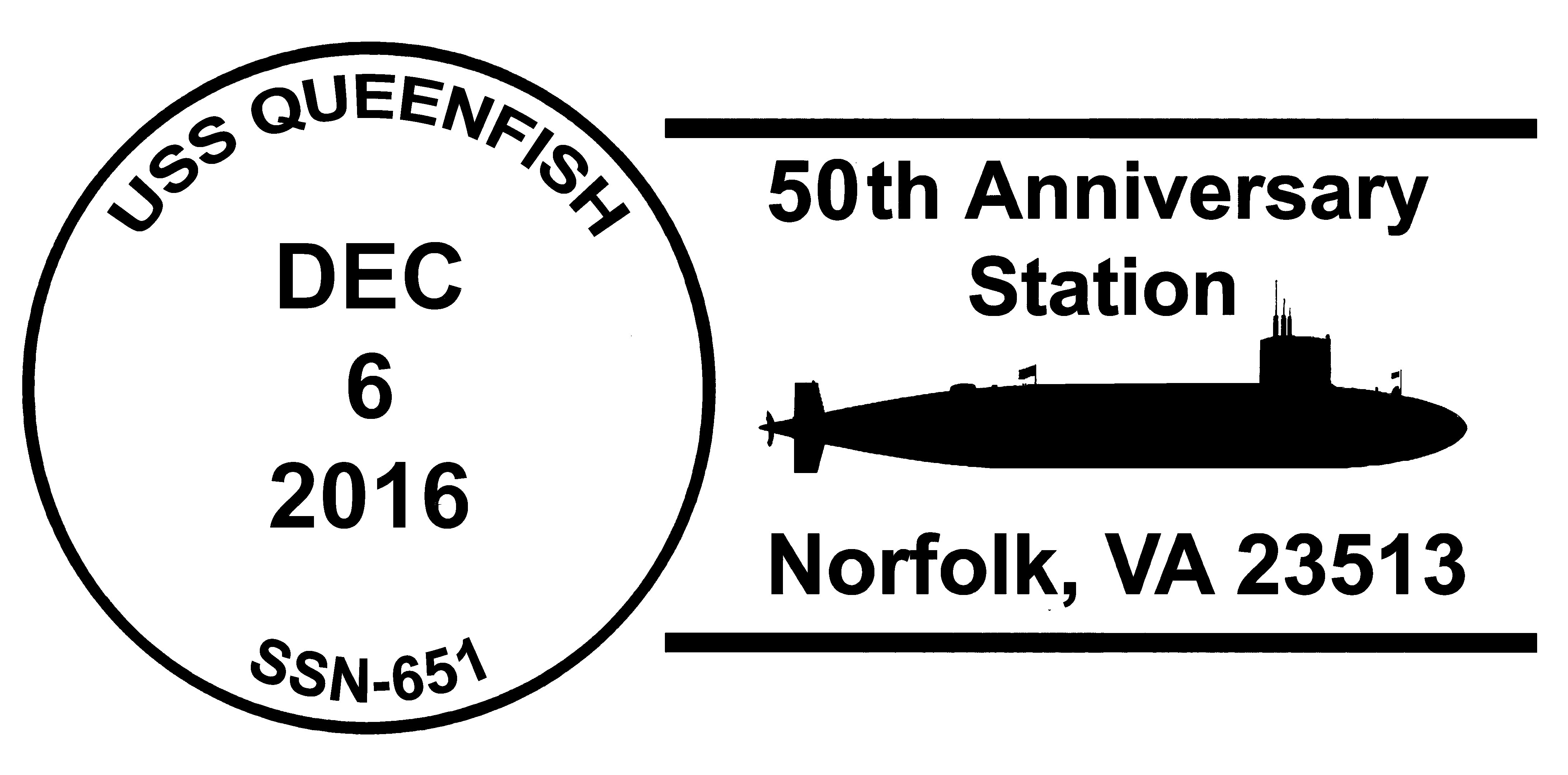 Sonderpoststempel USS QUEENFISH SSN-651  50 Jahre Indienststellung Grafik: Wolfgang Hechler