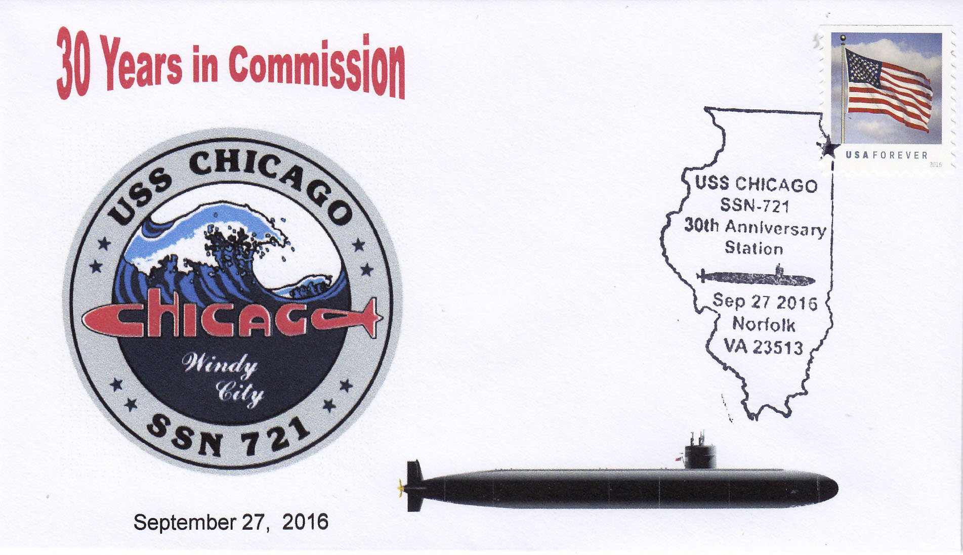 Beleg USS CHICAGO SSN-721  30 Jahre im Dienst