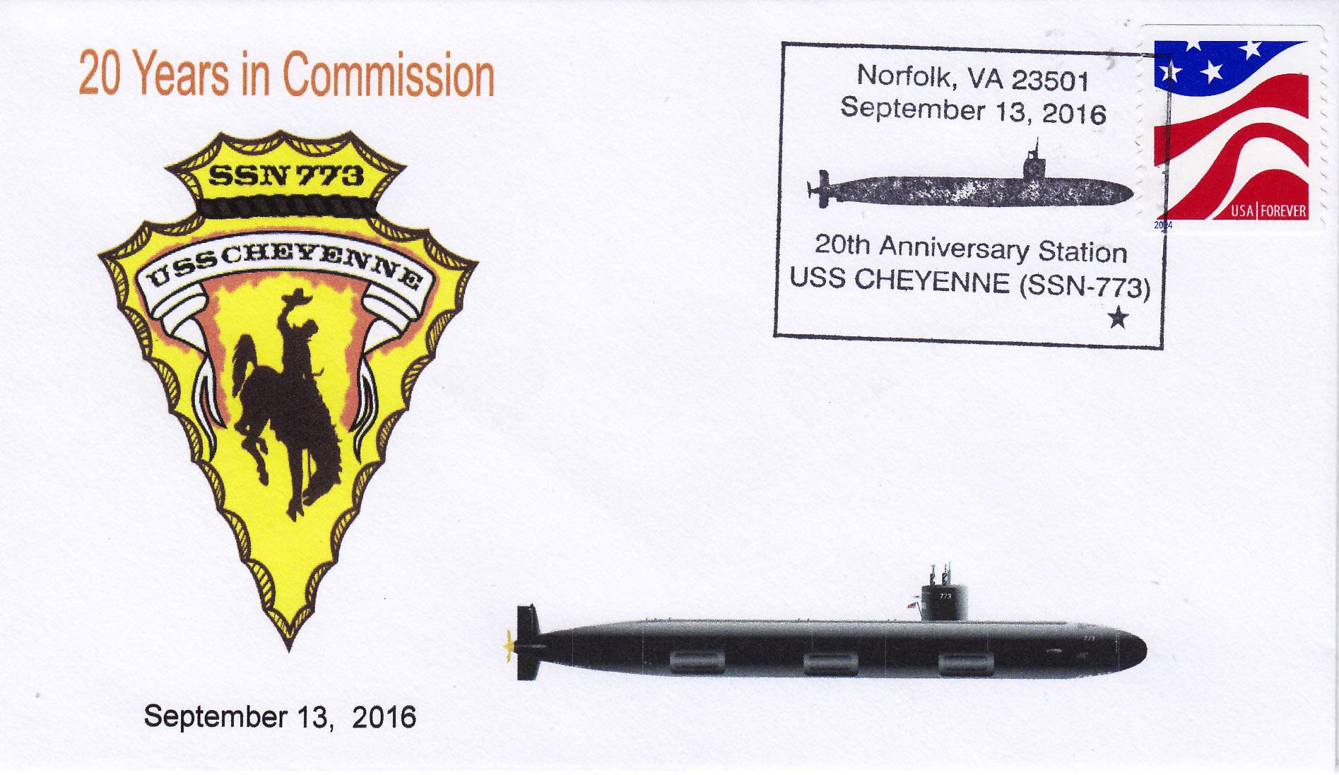 Beleg USS CHEYENNE SSN-773  20 Jahre im Dienst