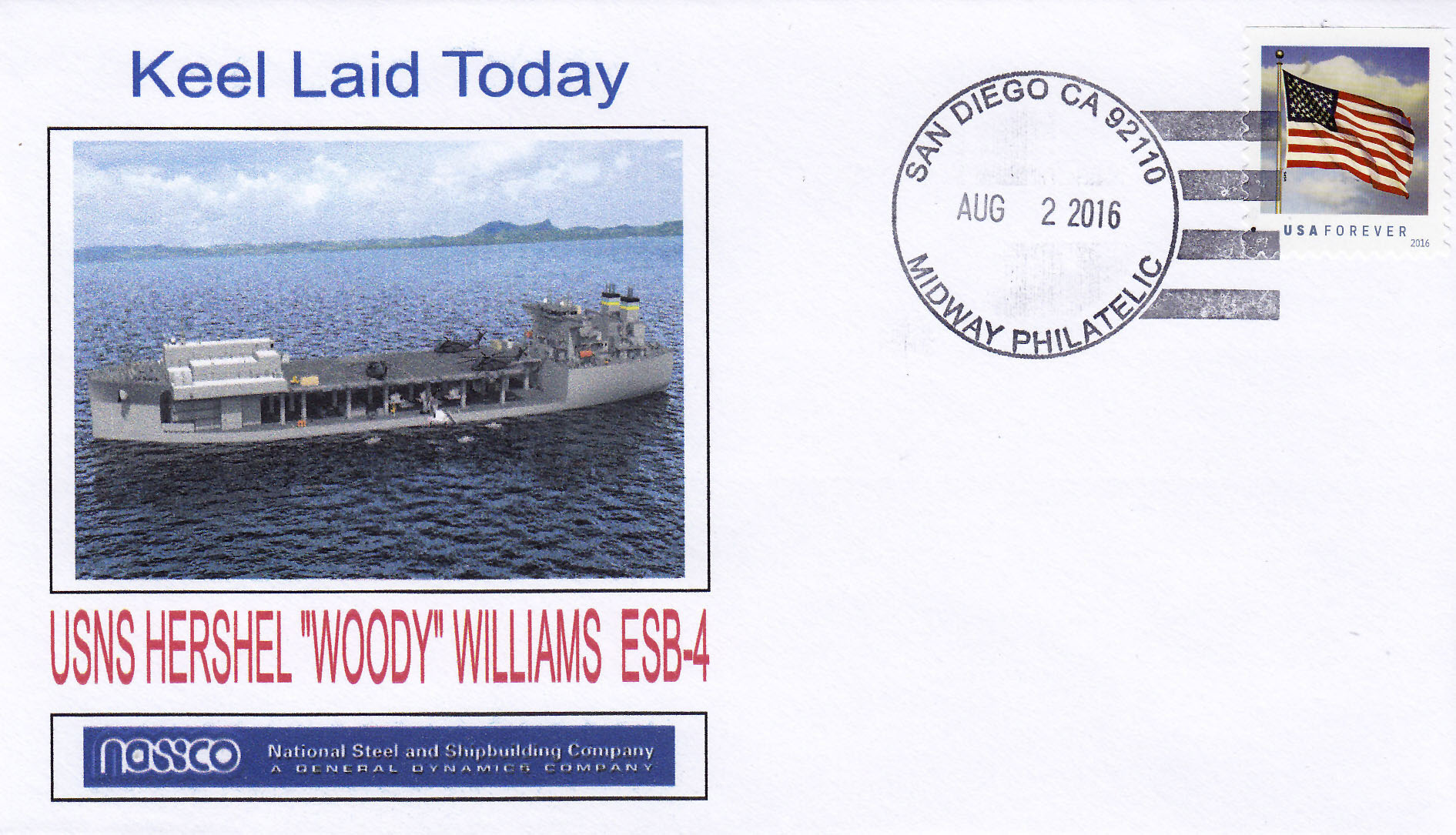 "Beleg USNS HERSHEL ""WOODY"" WILLIAMS T-ESB 4 Keel Laying"
