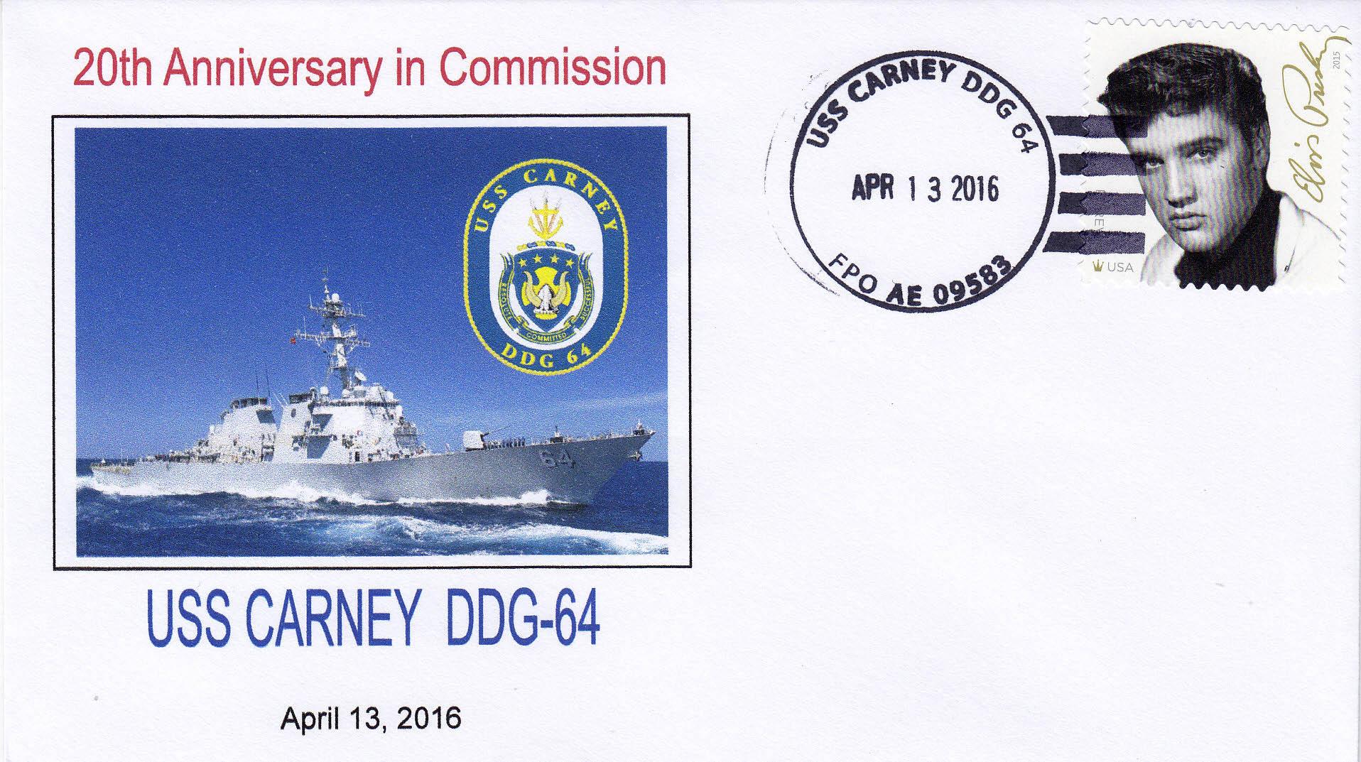 Beleg USS CARNEY DDG-64  20 Jahre im Dienst