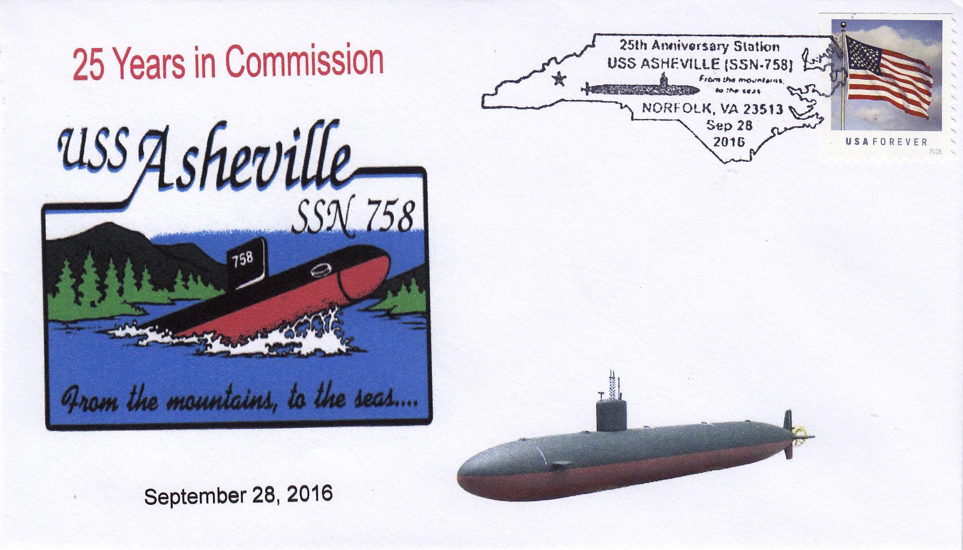 Beleg USS ASHEVILLE SSN-758  25 Jahre im Dienst