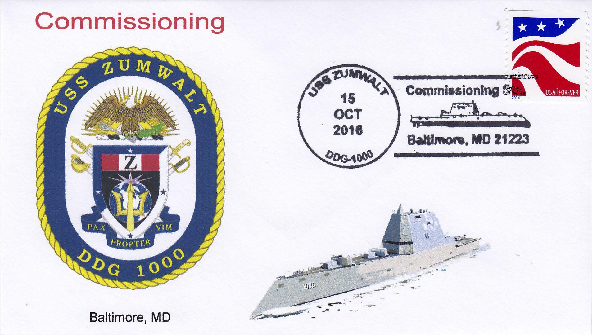 Beleg USS ZUMWALT DDG-1000 Indienststellung Baltimore