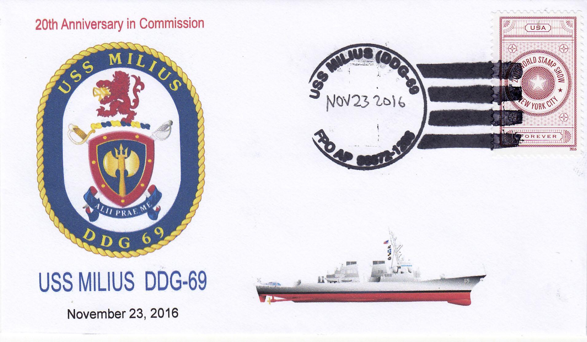 Beleg USS MILIUS DDG-69  20 Jahre im Dienst
