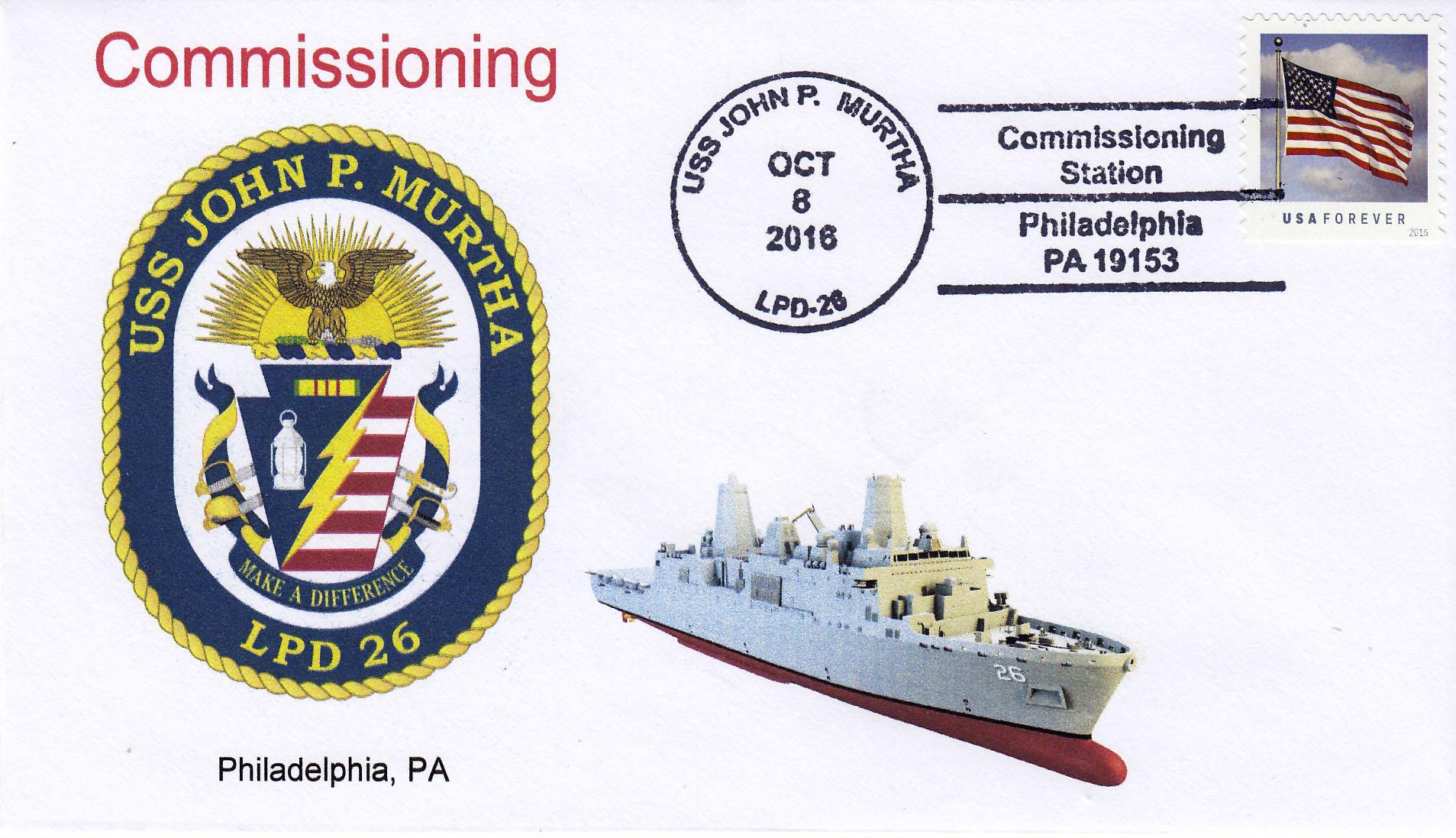Beleg USS JOHN P. MURTHA LPD-26 Indienststellung Philadelphia